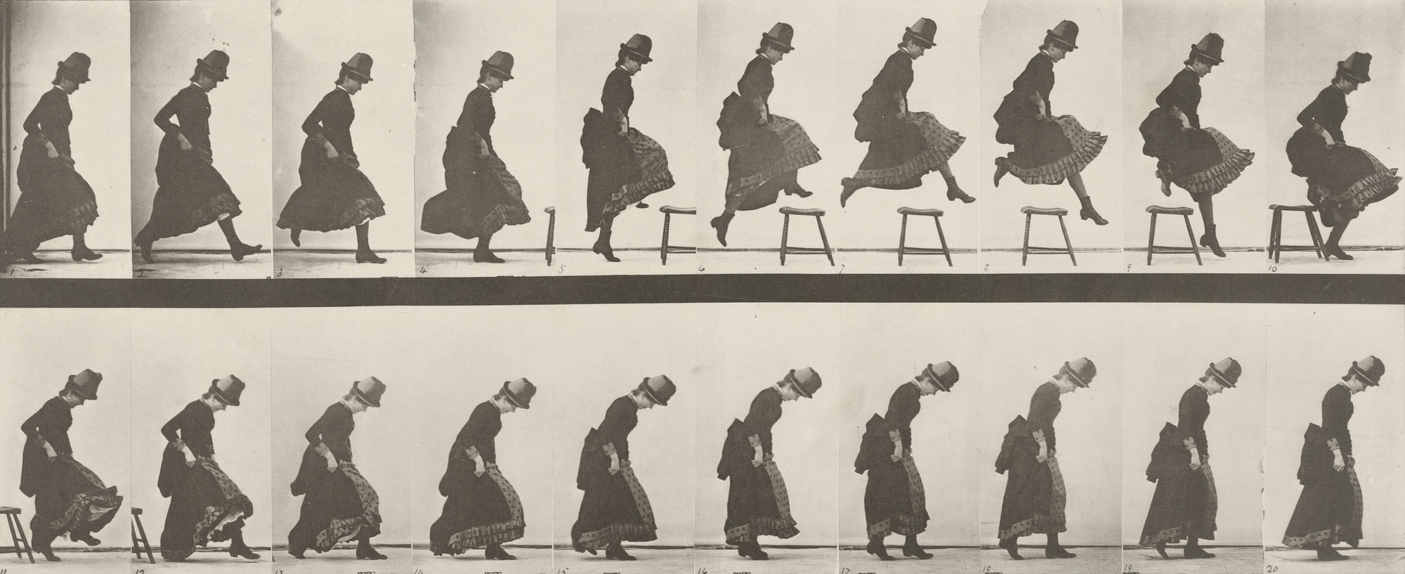 Eadweard J. Muybridge. Woman Jumping, Running Straight High Jump: Plate 156 from Animal Locomotion (1887). 1884-86