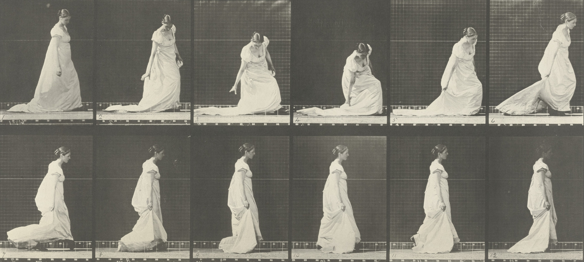Eadweard J. Muybridge. Woman Stooping and Lifting Train: Plate 207 from Animal Locomotion (1887). 1884-86