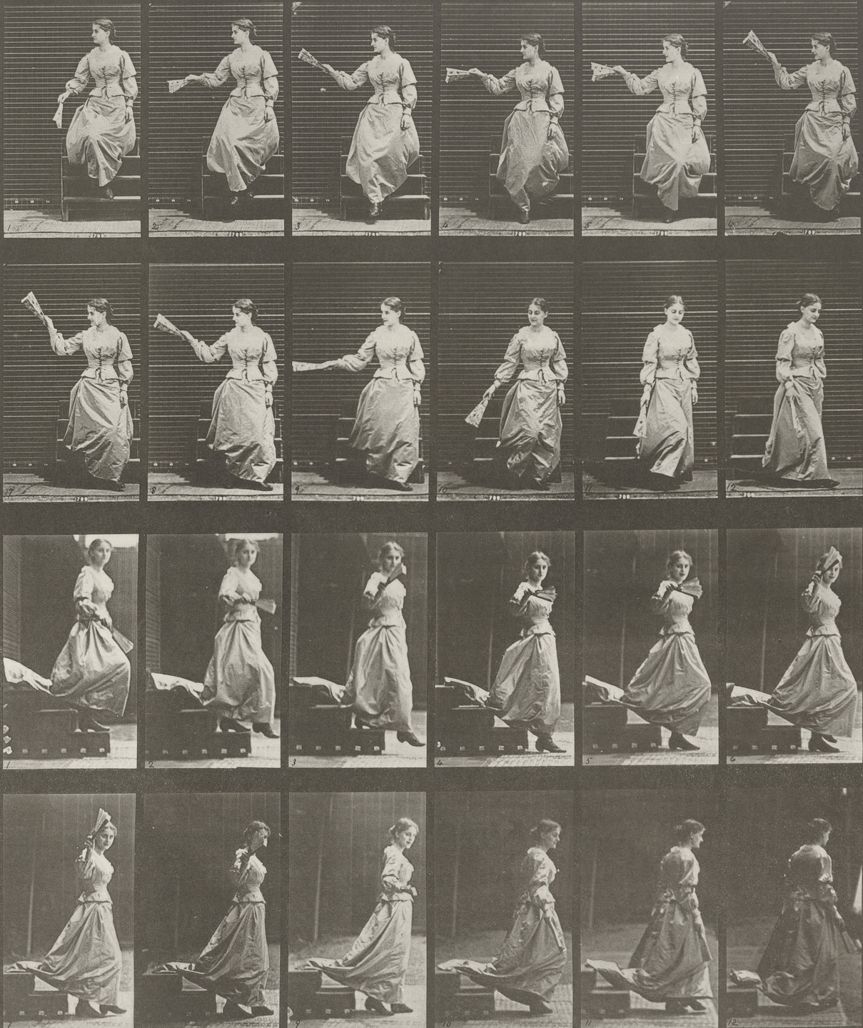 Eadweard J. Muybridge. Woman Descending Stairs, Looking Around and Waving a Fan: Plate 140 from Animal Locomotion (1887). 1884-86