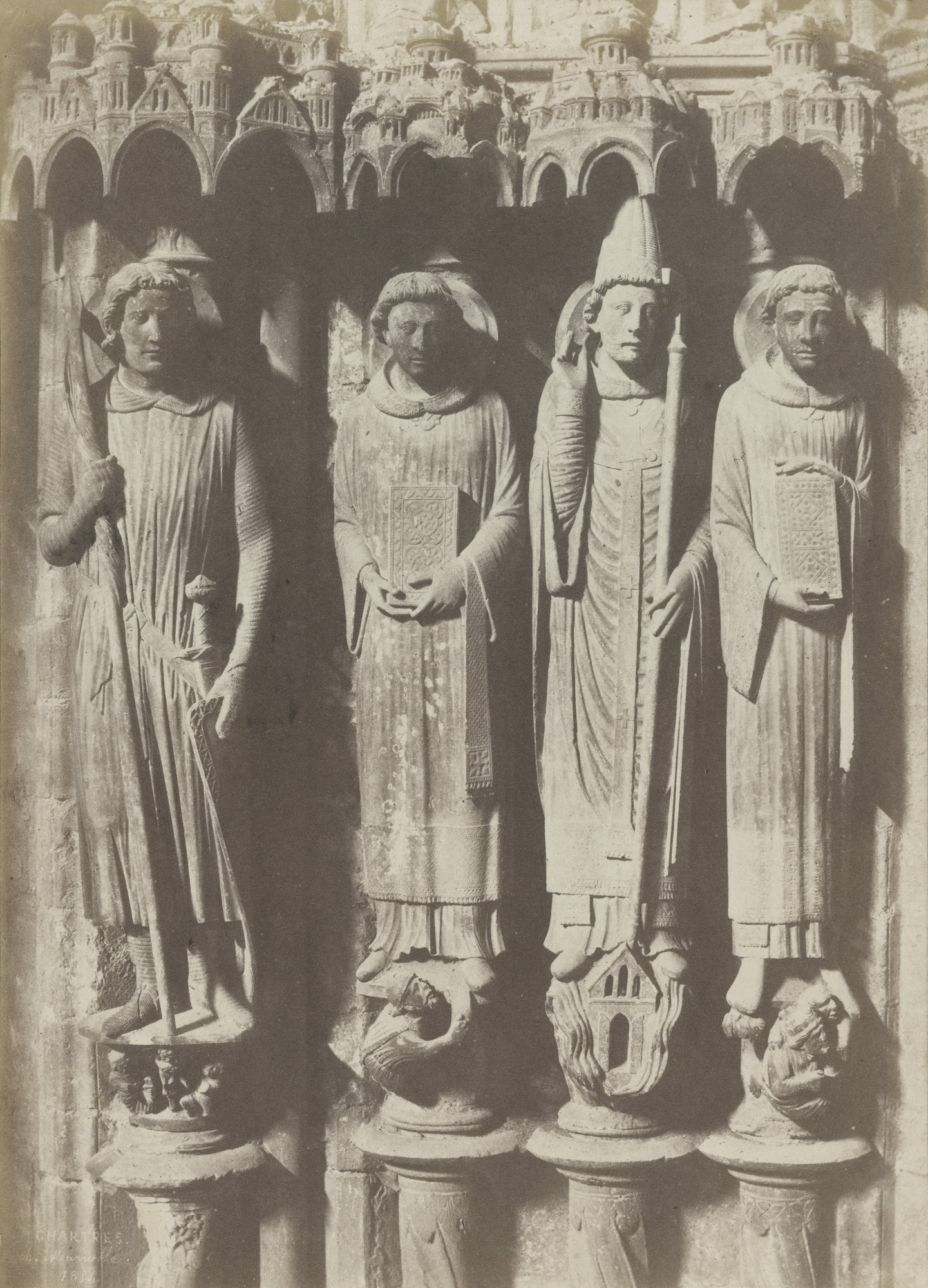 Charles Marville. Figures, South Portal, Chartres Cathedral. 1854