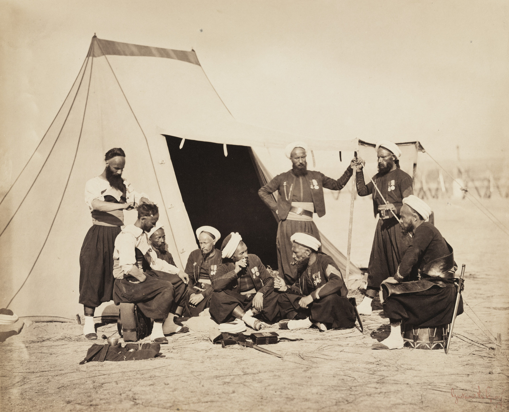 Gustave Le Gray. The Bathhouse of the Zouaves from the album Memories of the Camp de Châlons under General Decaën. 1857