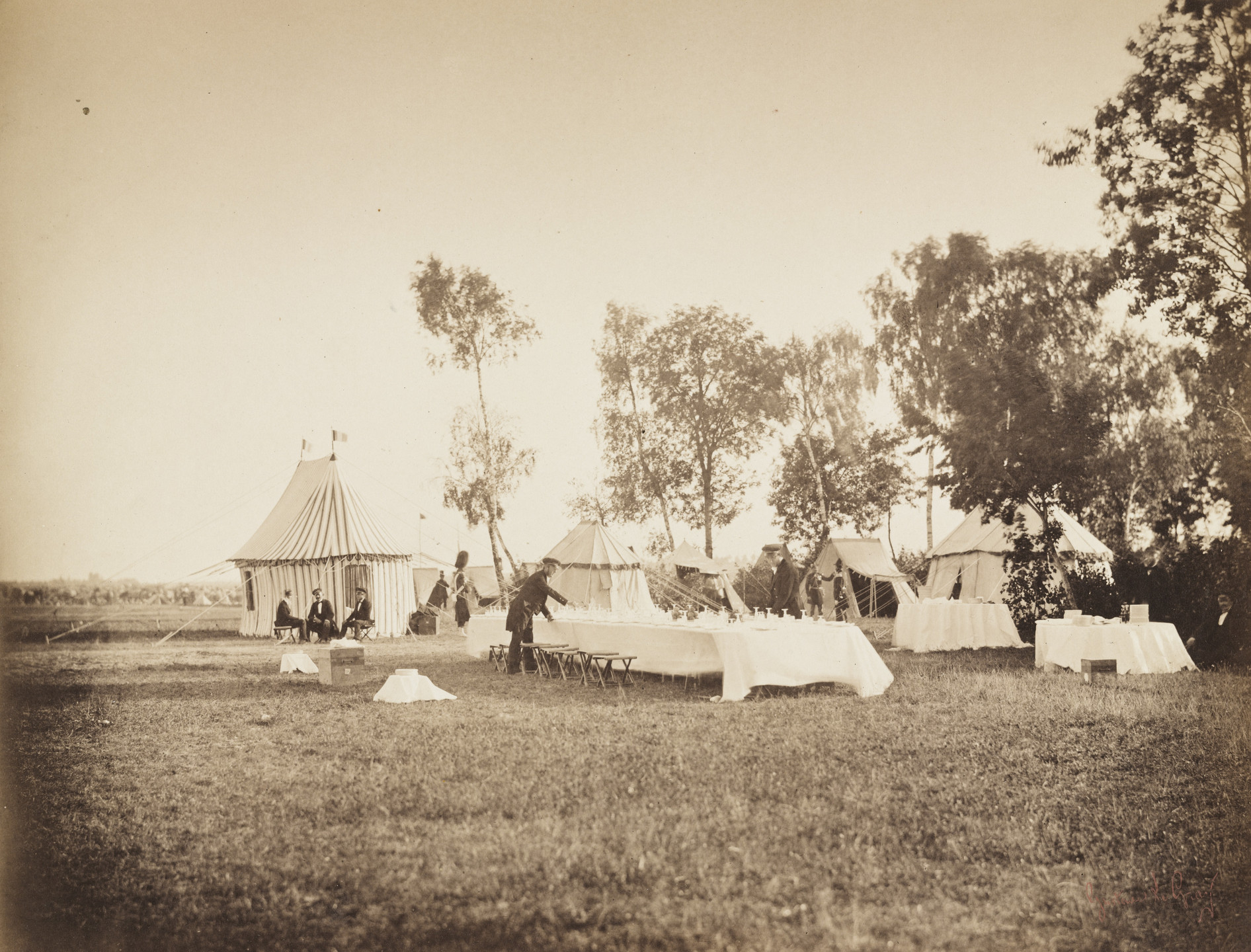 Gustave Le Gray. Setting the Emperor's Table from the album Memories of the Camp de Châlons under General Decaën. 1857