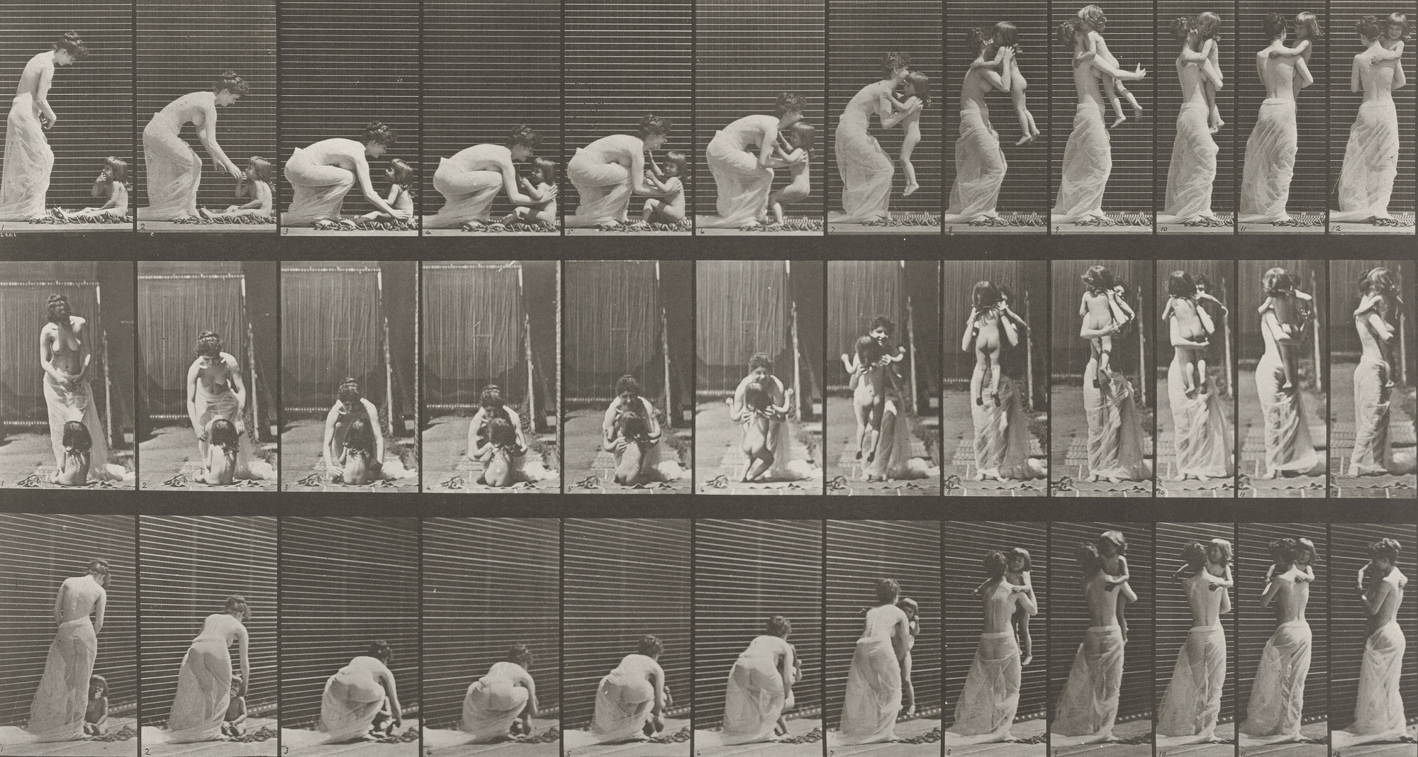 Eadweard J. Muybridge. Woman Lifting a Child from the Ground and Turning Around: Plate 214 from Animal Locomotion (1887). 1884-86