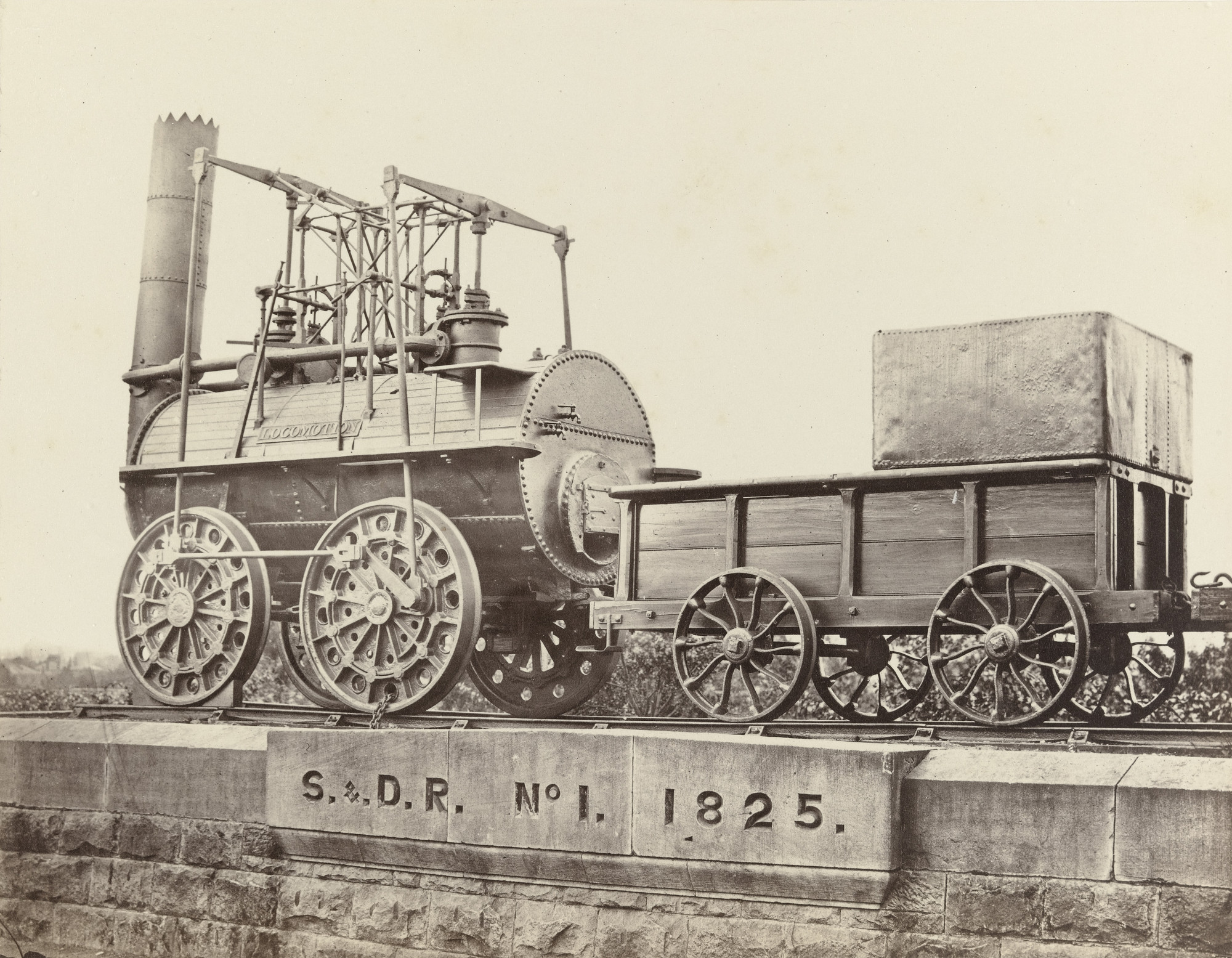 Francis Frith. No. 1 Locomotive and Tender, Darlington Railway Station. c. 1860