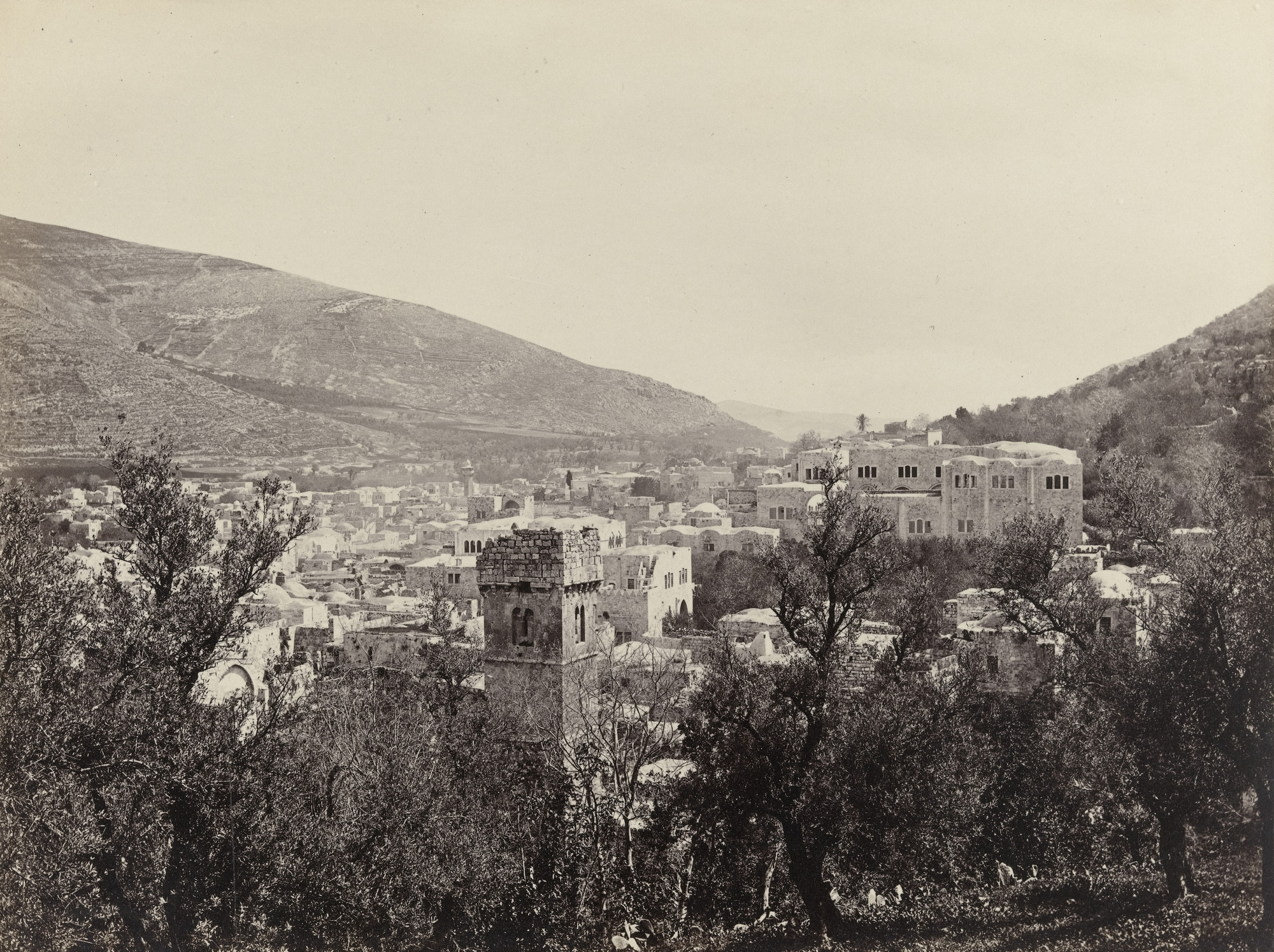 Francis Frith. Shechem (Nablous), Between Ebel and Gerizim (#590). c. 1860
