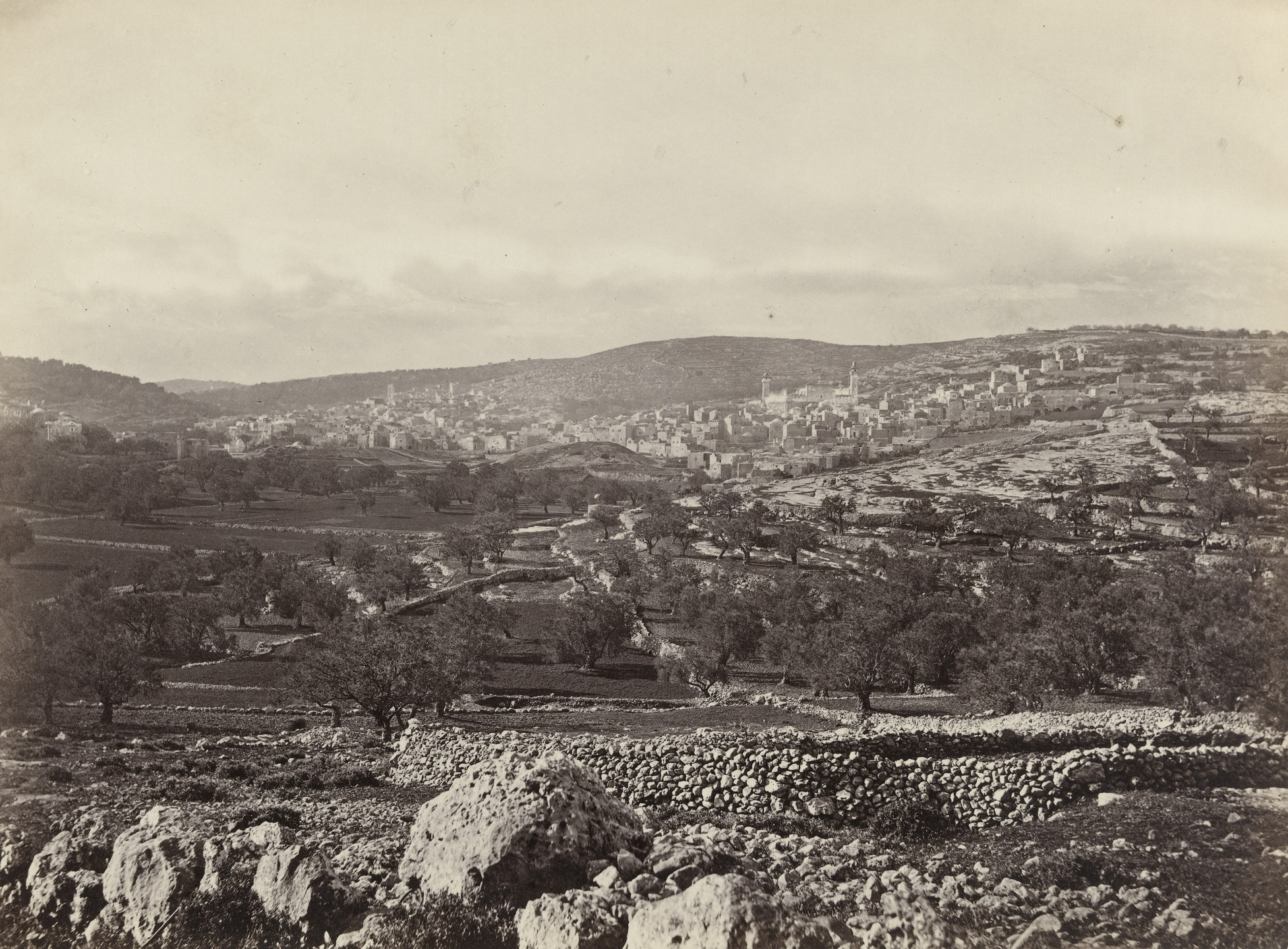 Francis Frith. Hebron and the Plain of Mamre, with Mosque Covering the Cave of Machpelah (#559). c. 1860