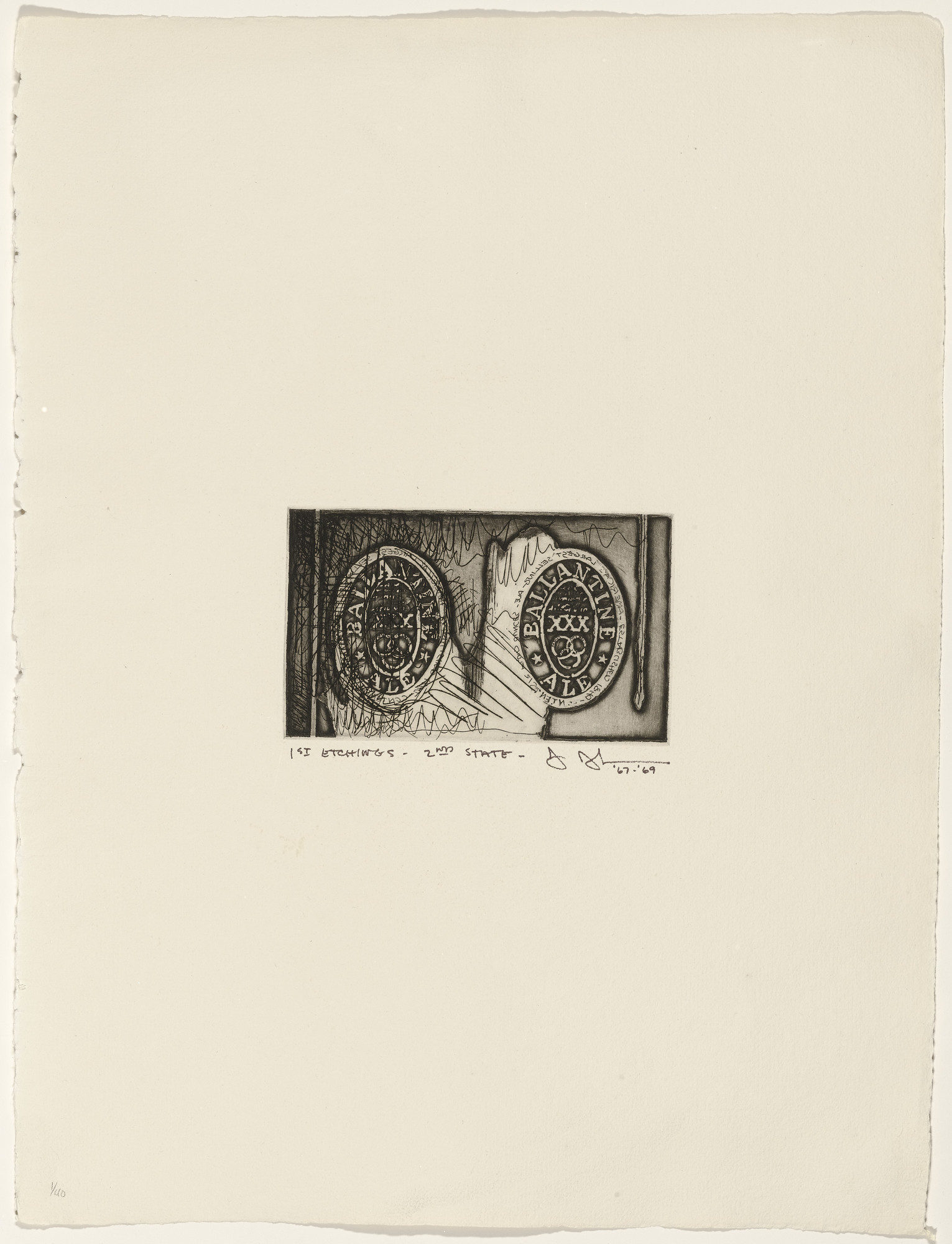 Jasper Johns. Ale Cans from 1st Etchings-2nd State. 1967–69, published 1969
