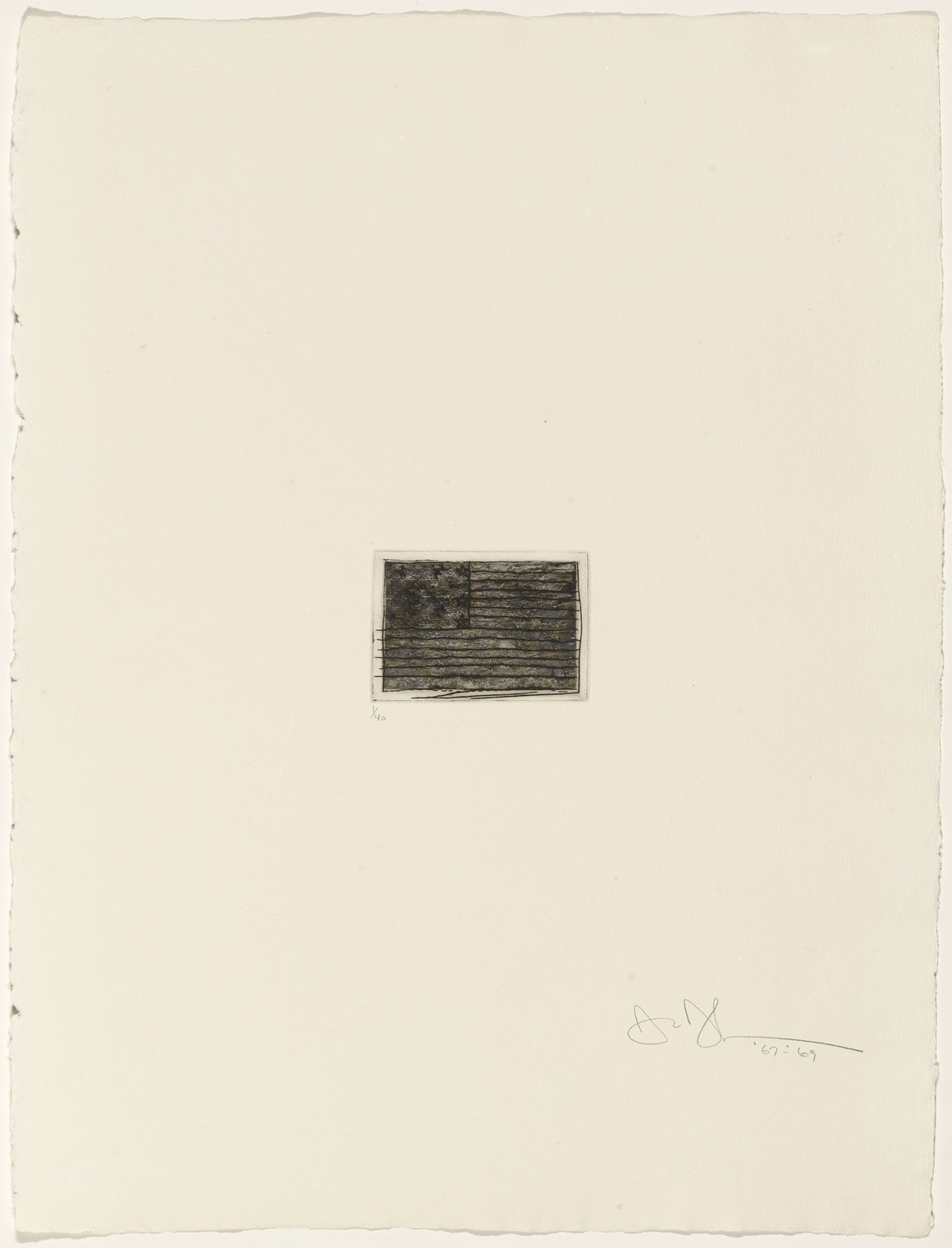Jasper Johns. Flag from 1st Etchings-2nd State. 1967–69, published 1969