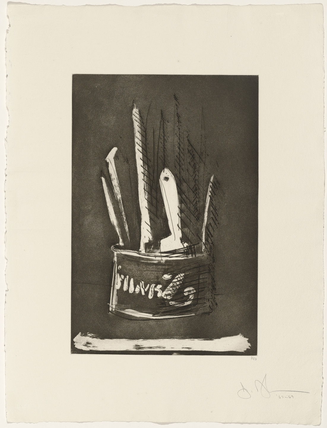 Jasper Johns. Paintbrushes from 1st Etchings-2nd State. 1967–69, published 1969