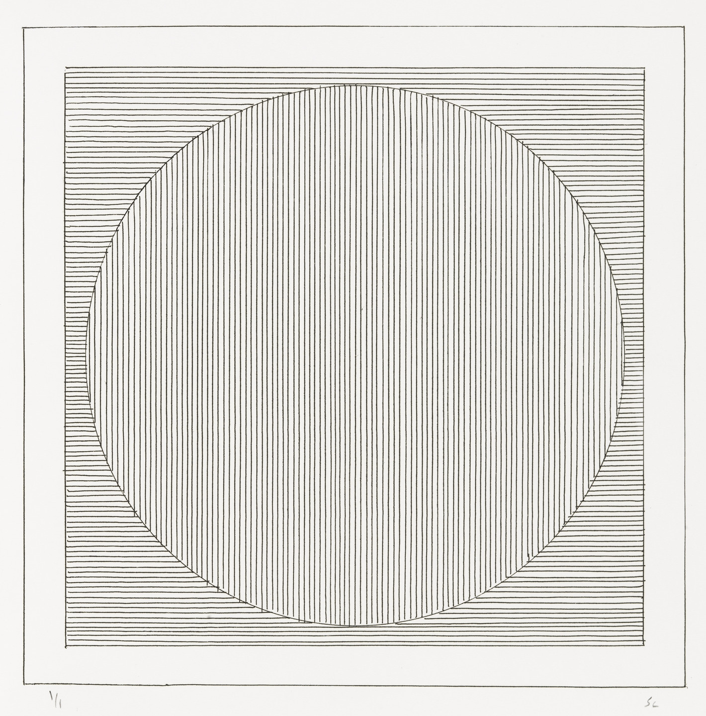 Sol LeWitt. Plate (folio 3) from Six Geometric Figures and All Their Combinations, Volume II. 1980