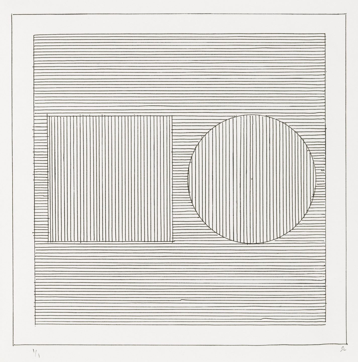 Sol LeWitt. Plate (folio 8) from Six Geometric Figures and All Their Combinations, Volume II. 1980