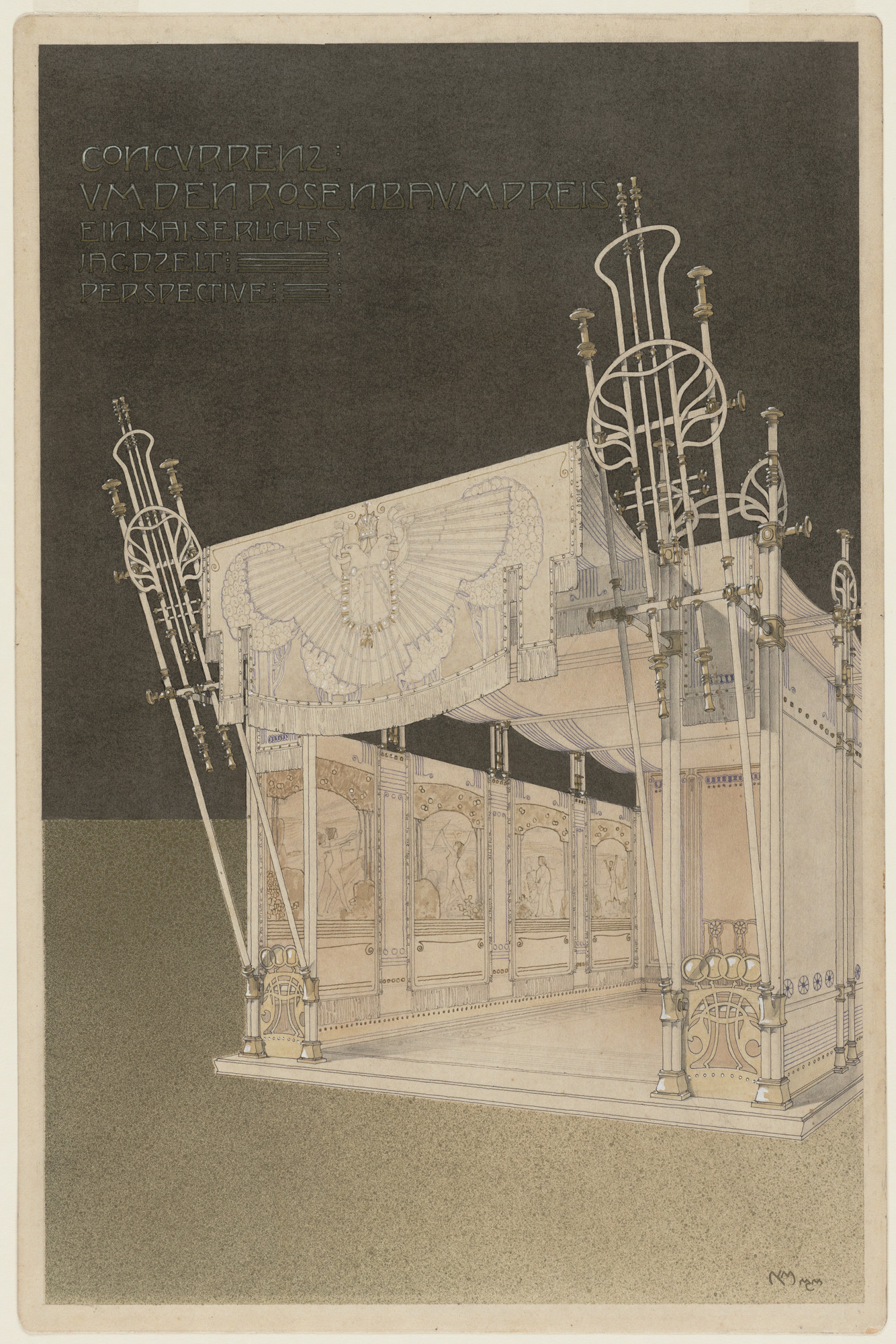 Marcel Kammerer. Royal Hunting Tent, project, Exterior perspective. 1900