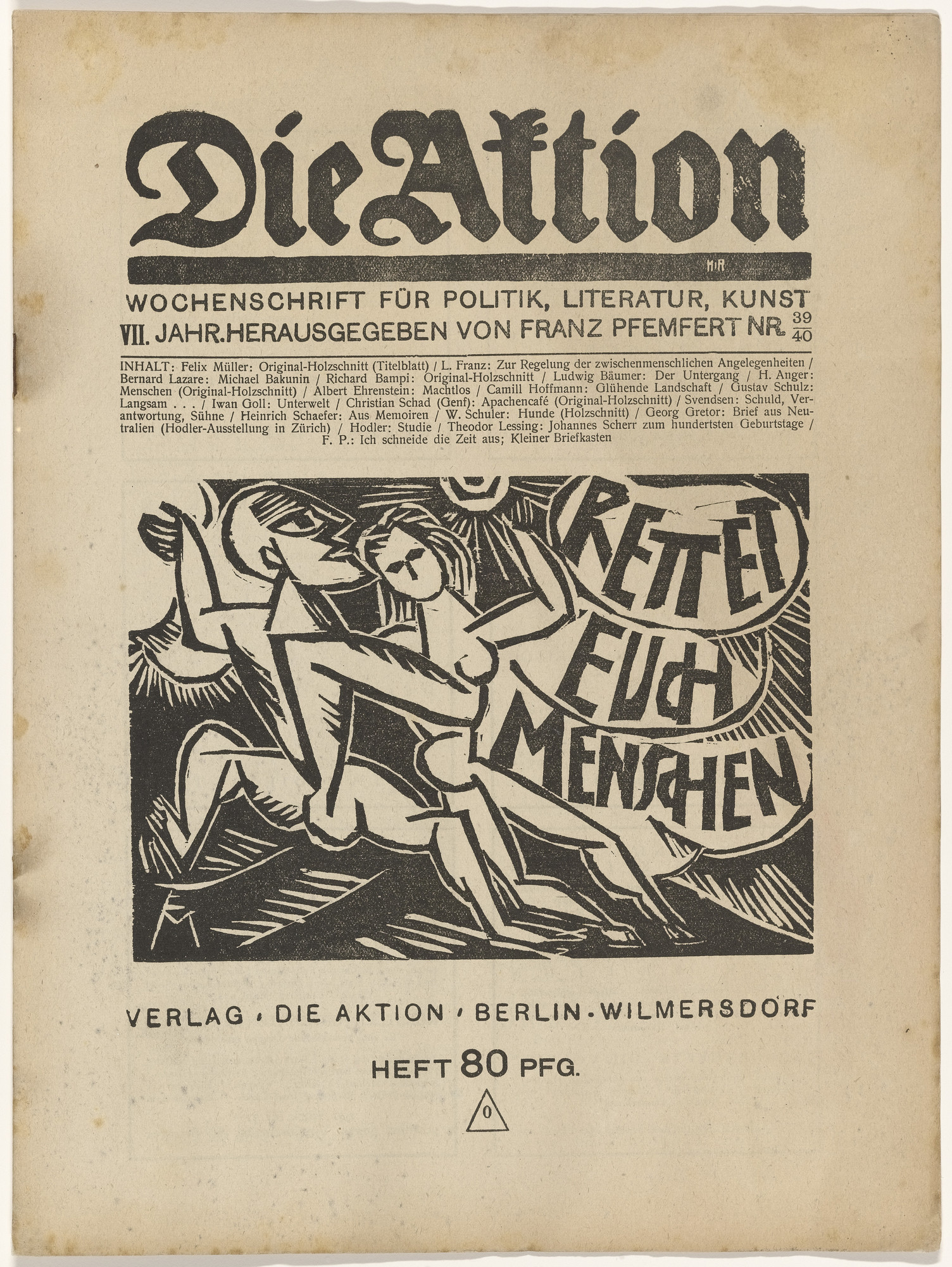 Various Artists. Die Aktion (vol. 2, no. 3-vol. 11, no. 11/12). 1912-21