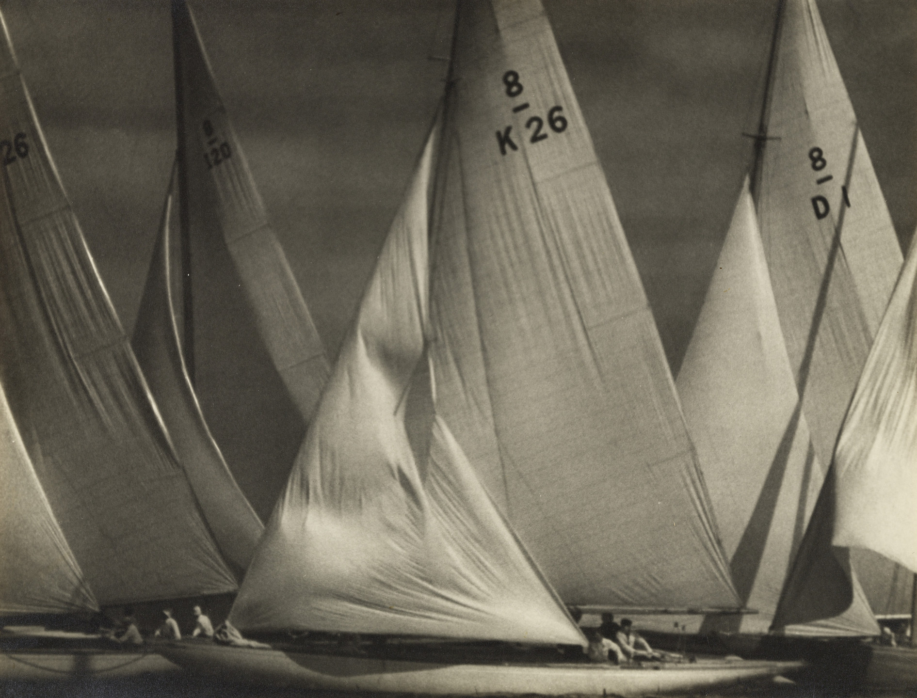 Leni Riefenstahl. Eight Metre Boats Crowding at the Turning Point. August 1936