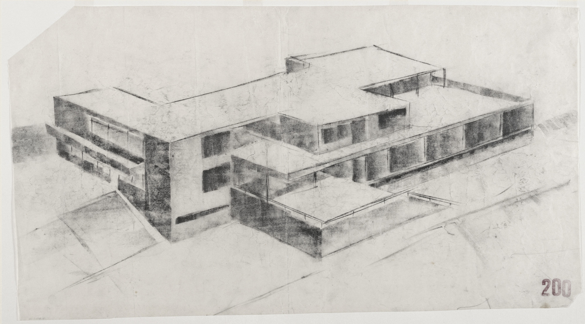Ludwig Mies van der Rohe. Tugendhat House, Brno, Czech Republic (Aerial perspective from southwest). 1928–1930