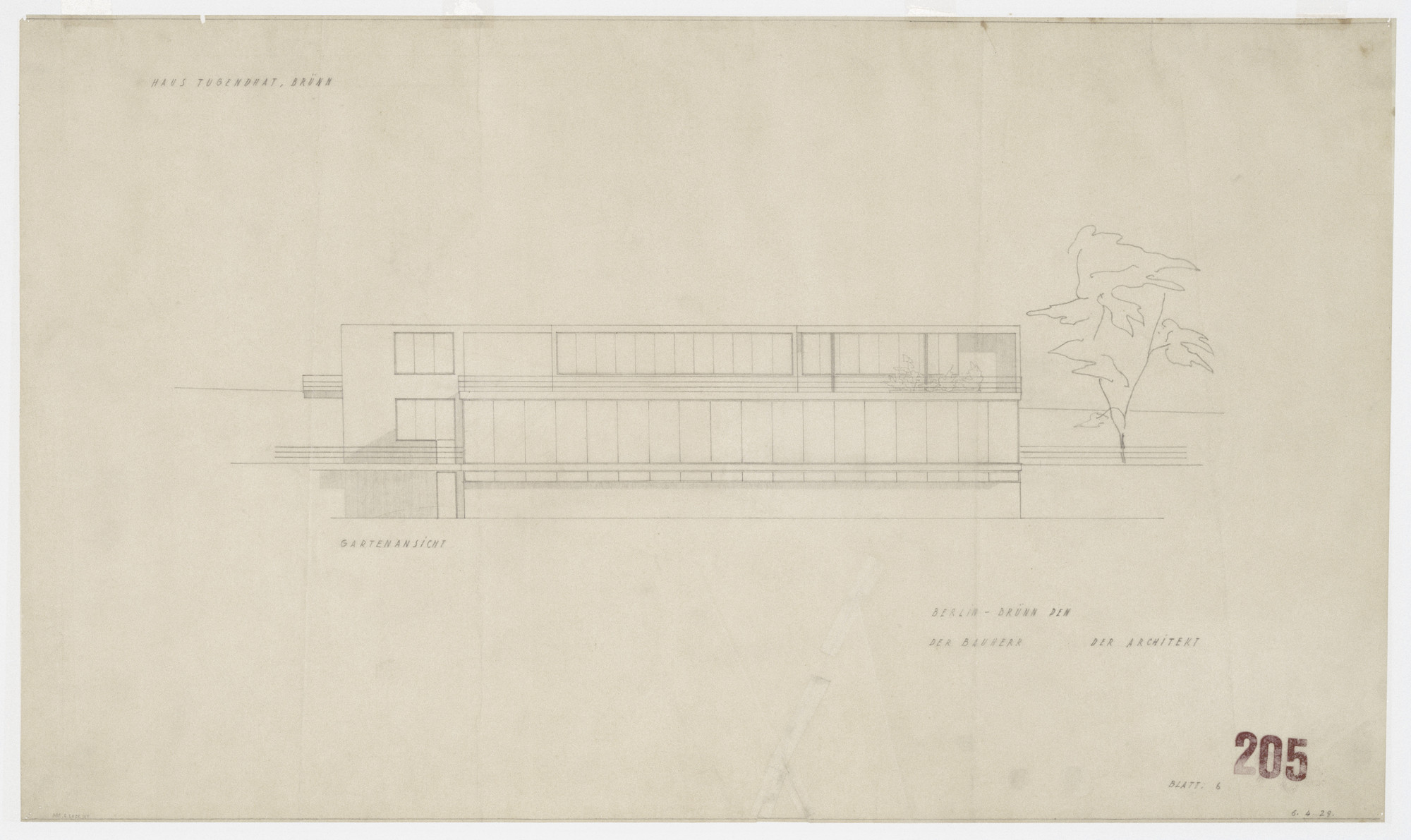 Ludwig Mies van der Rohe. Tugendhat House, Brno, Czech Republic (Elevation). 1928–1930