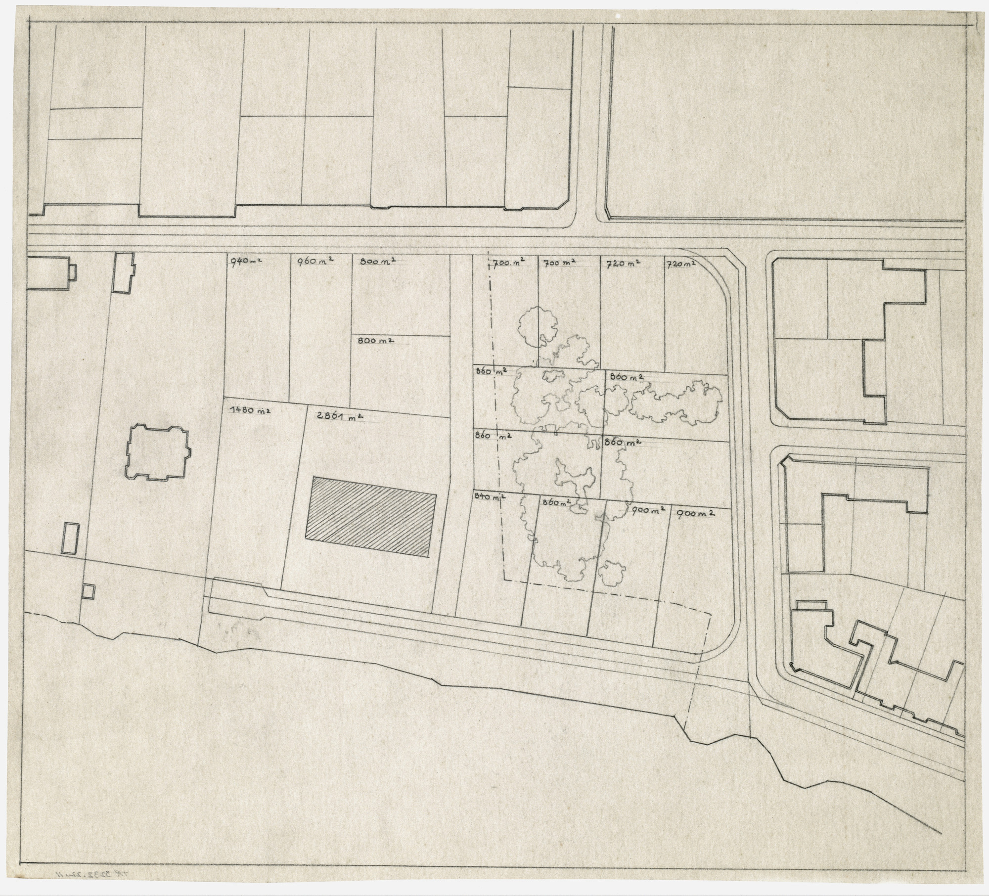 Ludwig Mies van der Rohe. Hubbe House Project, Magdeburg, Germany (Site plan). 1934-1935