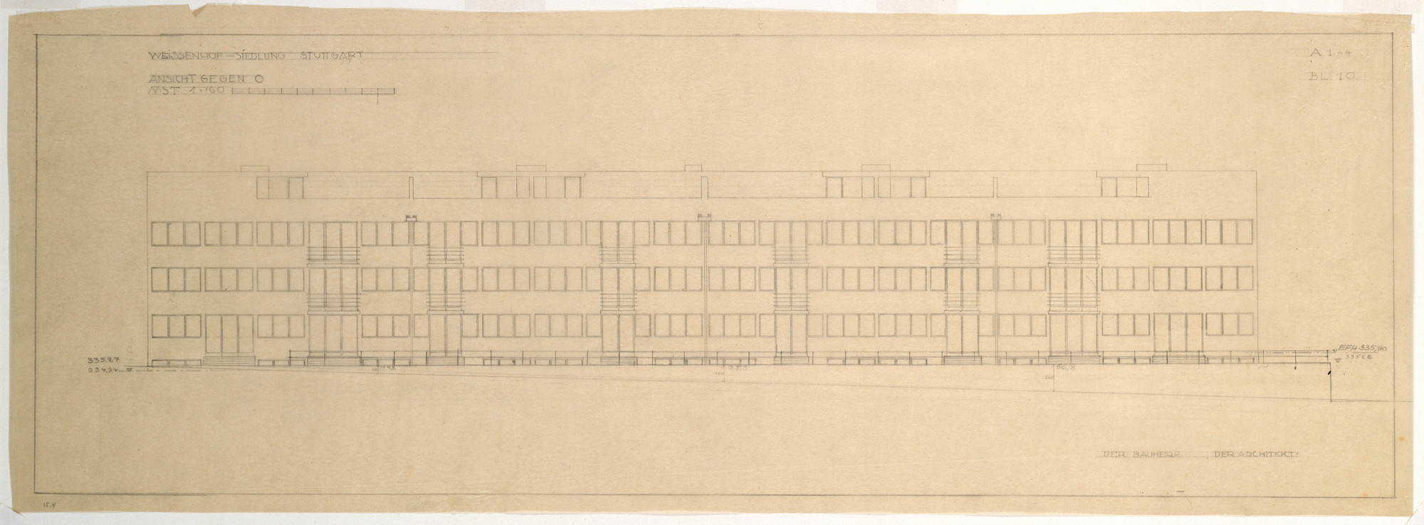 "Ludwig Mies van der Rohe. Weissenhof Apartment House, ""The Dwelling"" Exhibition, Stuttgart, Germany, East elevation. 1926-1927"