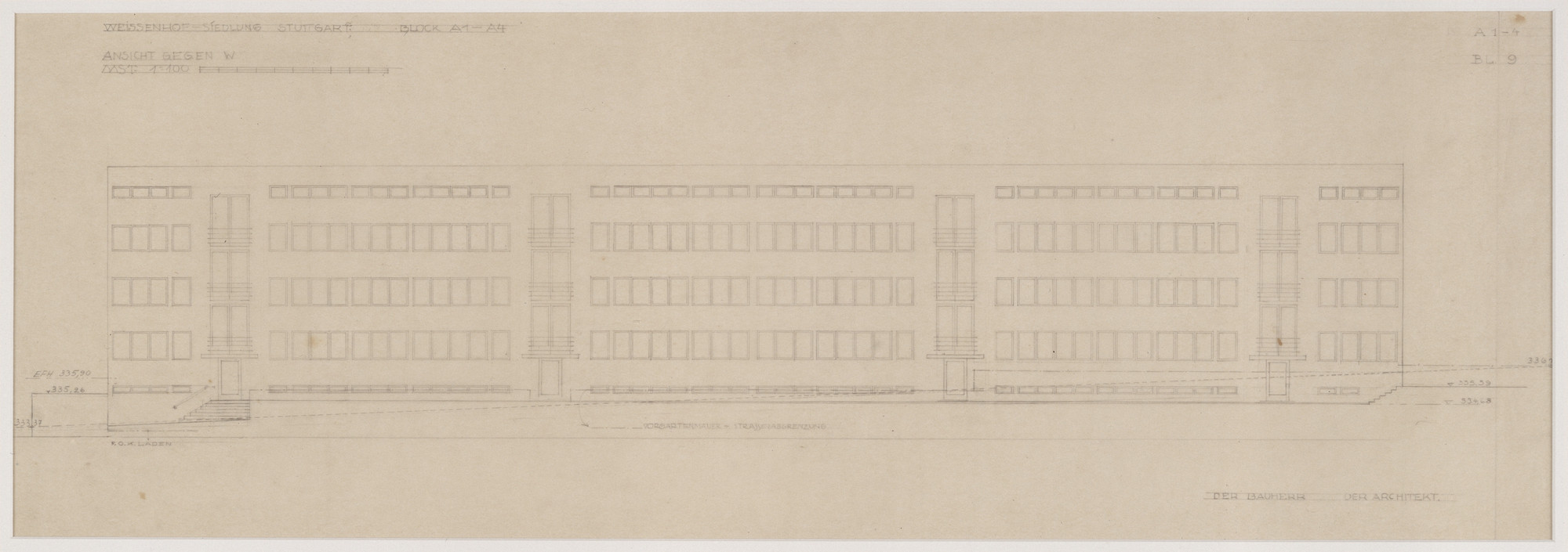 "Ludwig Mies van der Rohe. Weissenhof Apartment House, ""The Dwelling"" Exhibition, Stuttgart, Germany, West elevation. 1926-1927"