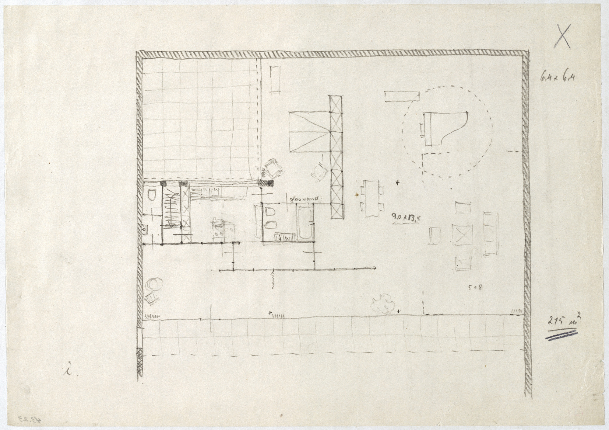 Ludwig Mies van der Rohe. Hubbe House Project, Magdeburg, Germany (Floor plan sketch). 1934-1935