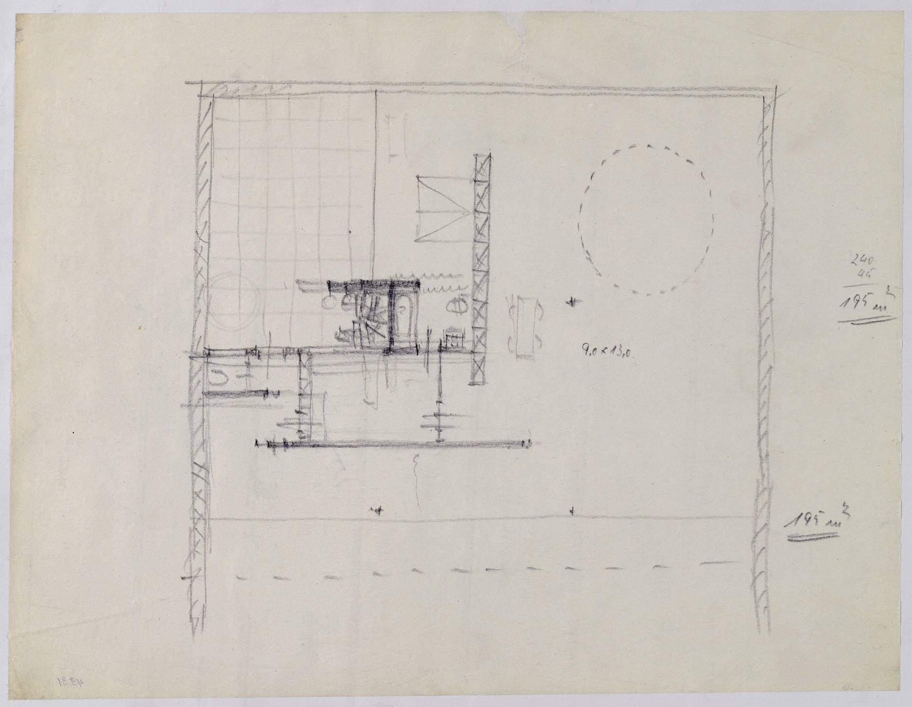 Ludwig Mies van der Rohe. Hubbe House Project, Magdeburg, Germany (Plan sketch). 1934-1935