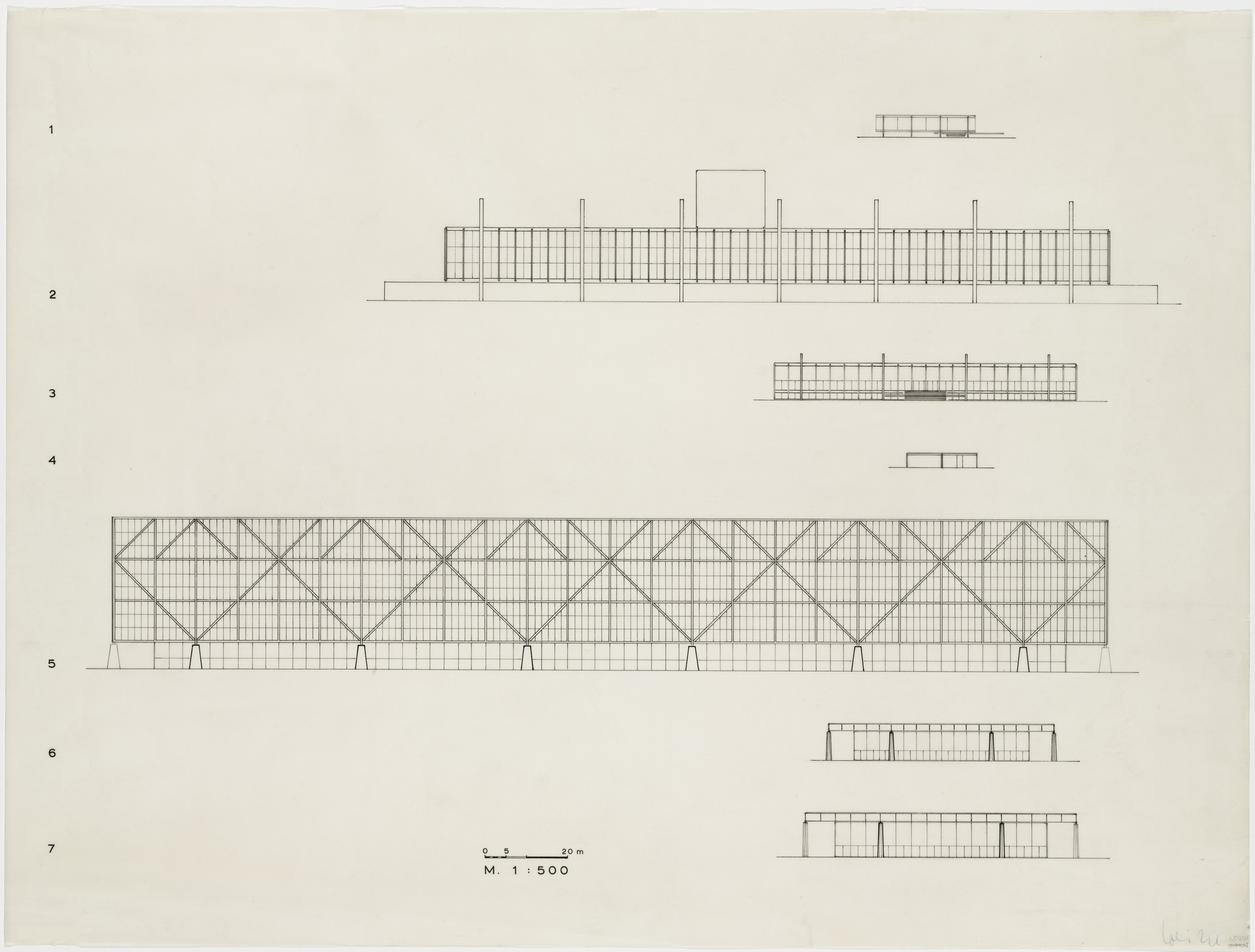 Ludwig Mies van der Rohe. Comparative Elevations, Seven elevations of clear-span buildings. 1969