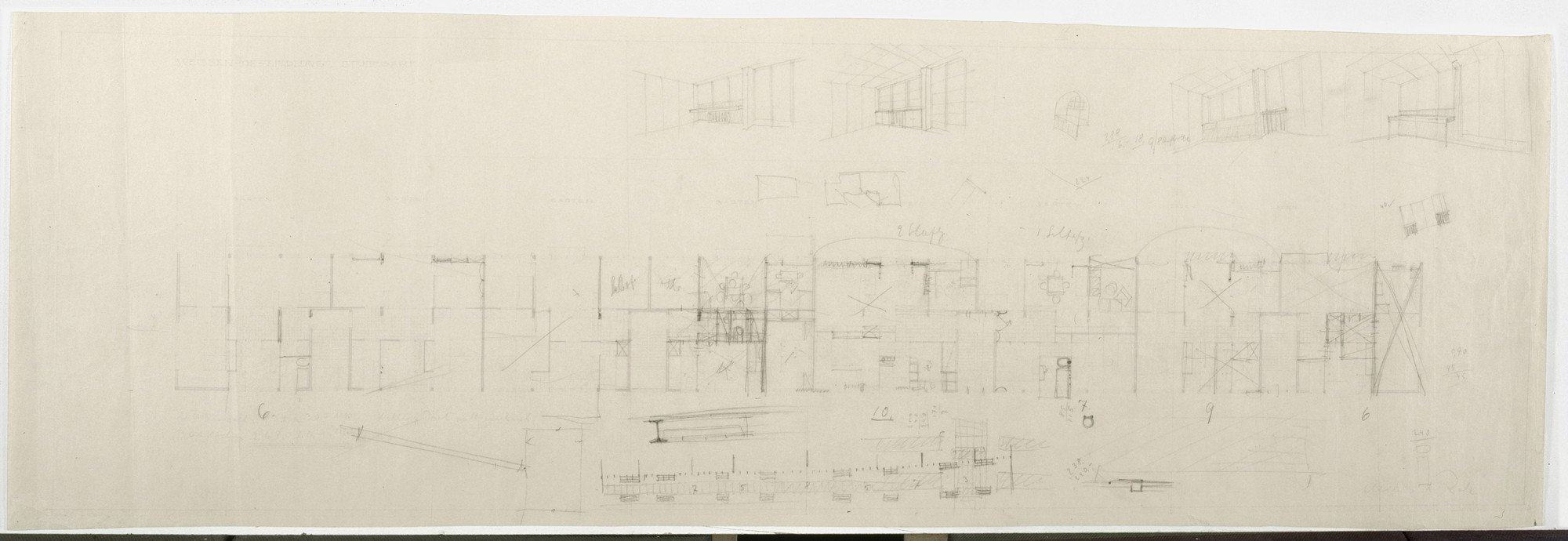 "Ludwig Mies van der Rohe. Weissenhof Apartment House, ""The Dwelling"" Exhibition, Stuttgart, Germany (Upper floor plan, interior perspectives). 1926"