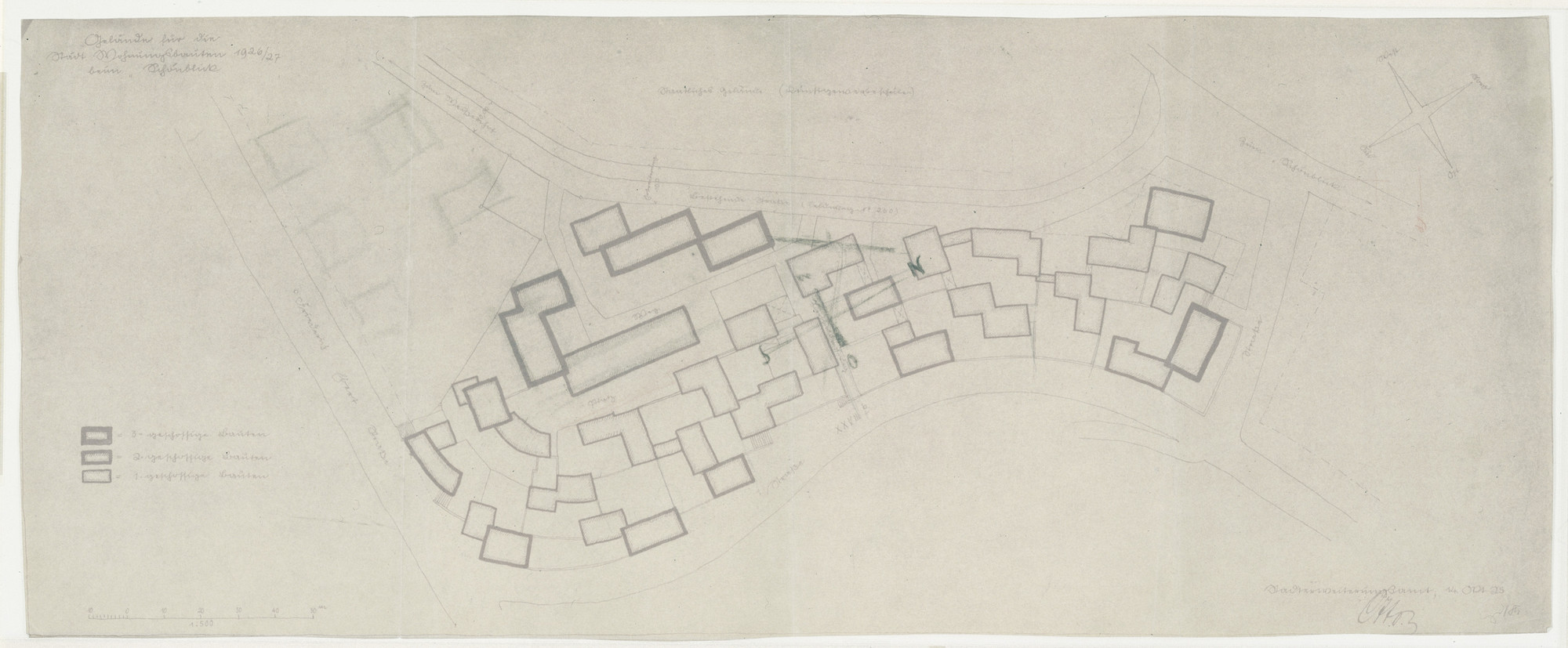 "Ludwig Mies van der Rohe. Weissenhof Housing Colony Master Plan, ""The Dwelling,"" Stuttgart, Germany (Plan). 1926-1927"