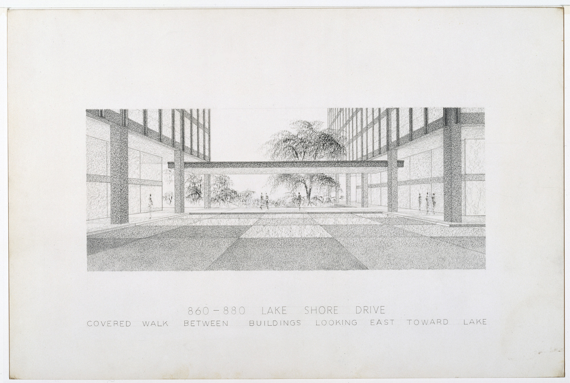 Ludwig Mies van der Rohe. 860/880 Lake Shore Drive Apartment Building, Chicago, Illinois (Exterior perspective). c. 1948-51