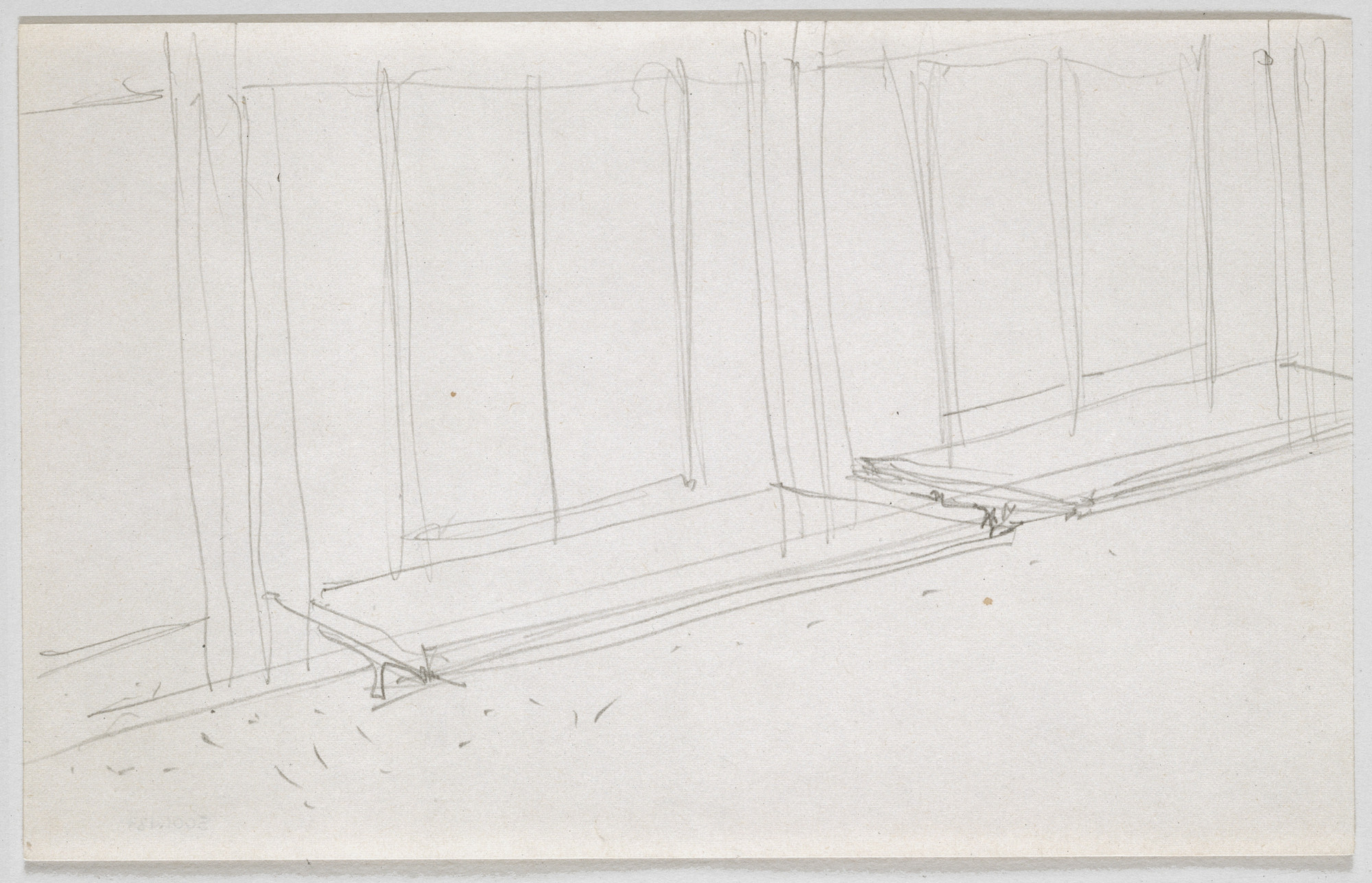 Ludwig Mies van der Rohe. Illinois Institute of Technology, S.R. Crown Hall, Chicago, IL, Perspective sketch. Travertine door step at north entrance.. 1950-1956