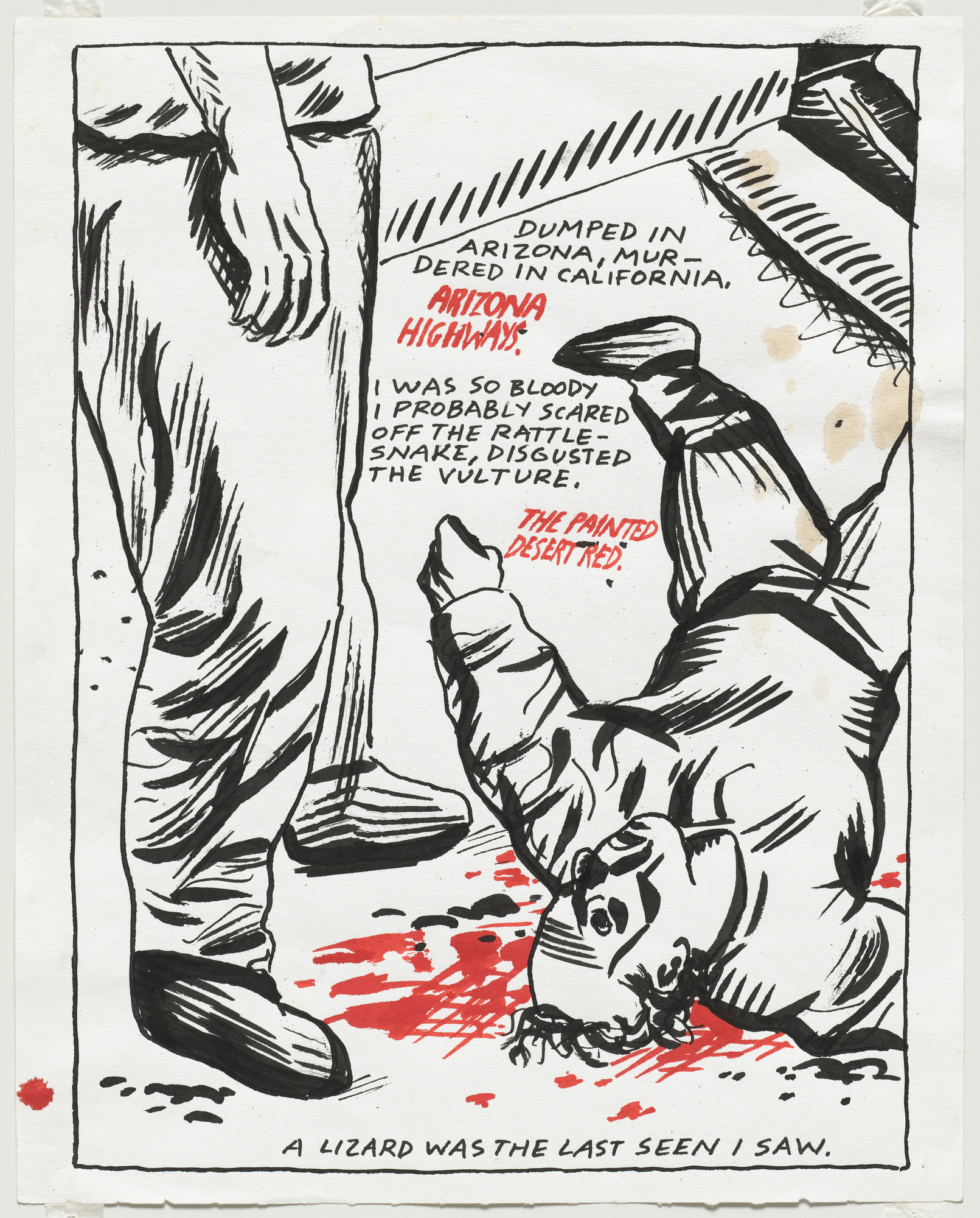 Raymond Pettibon. No Title (Dumped in Arizona...). 1984