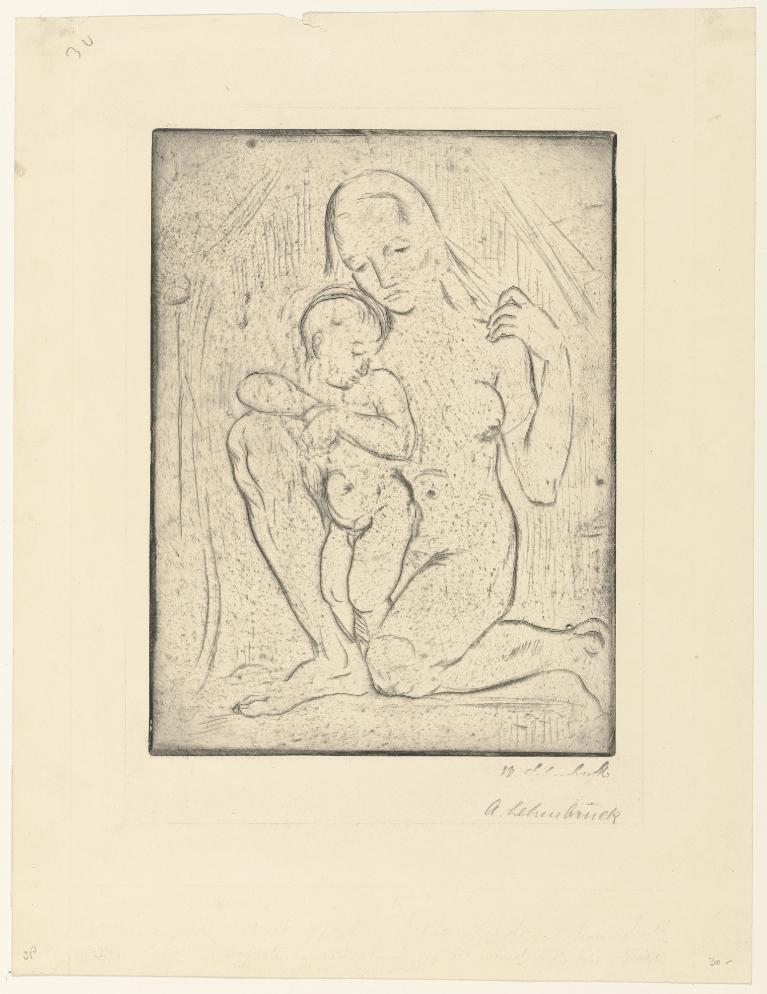Wilhelm Lehmbruck. Mother and Child (kneeling, full) [Mutter und Kind (kniend ganz)]. (1910, printed 1920)