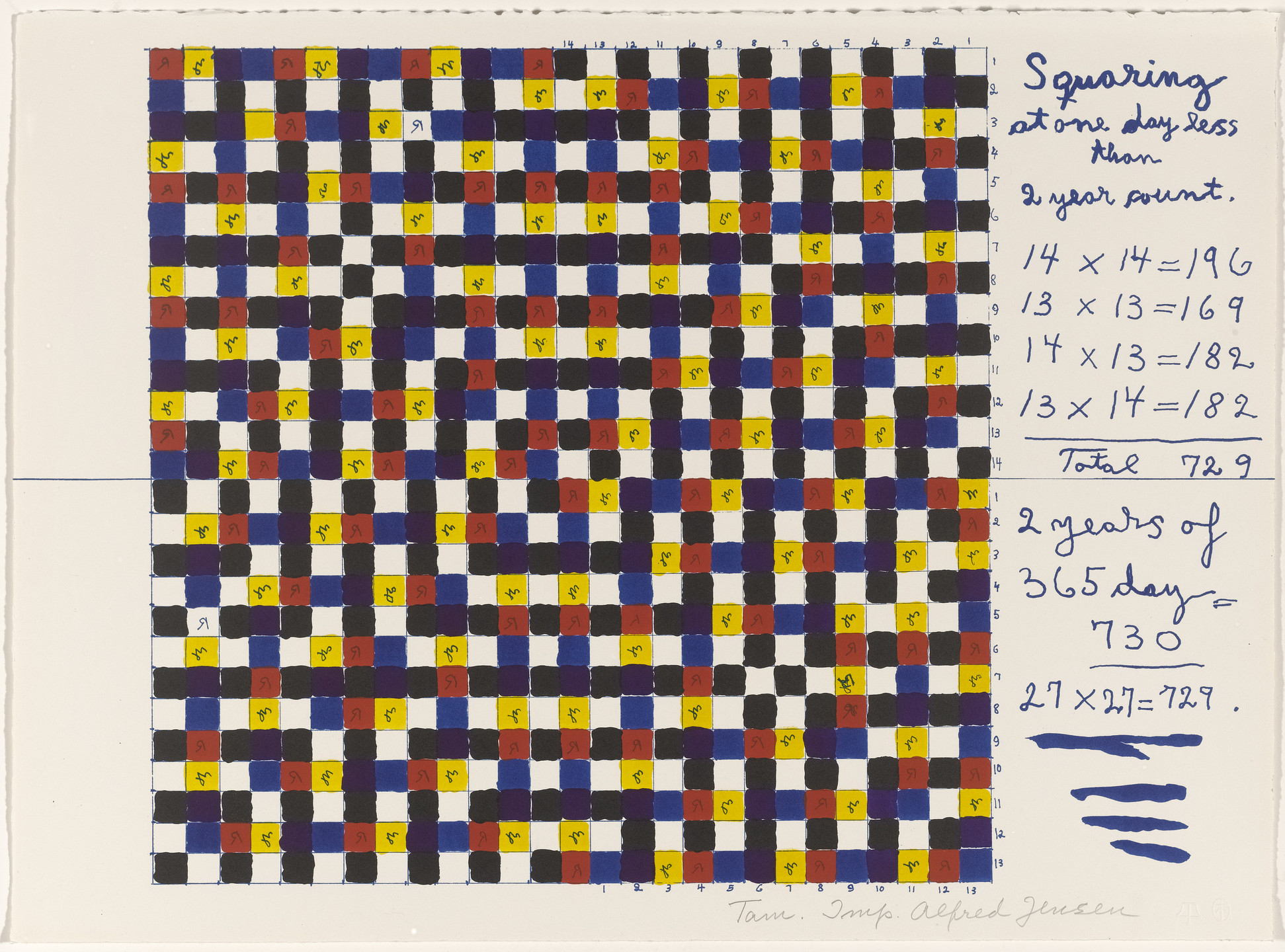 Alfred Jensen. In-text plate (folio 3) from A Pythagorean Notebook. 1965