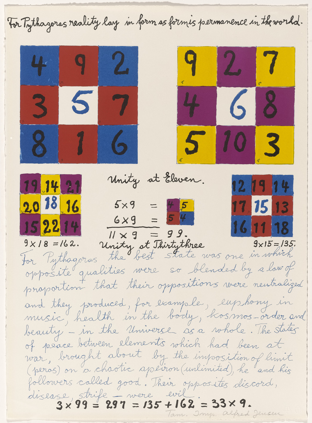 Alfred Jensen. In-text plate (folio 5) from A Pythagorean Notebook. 1965