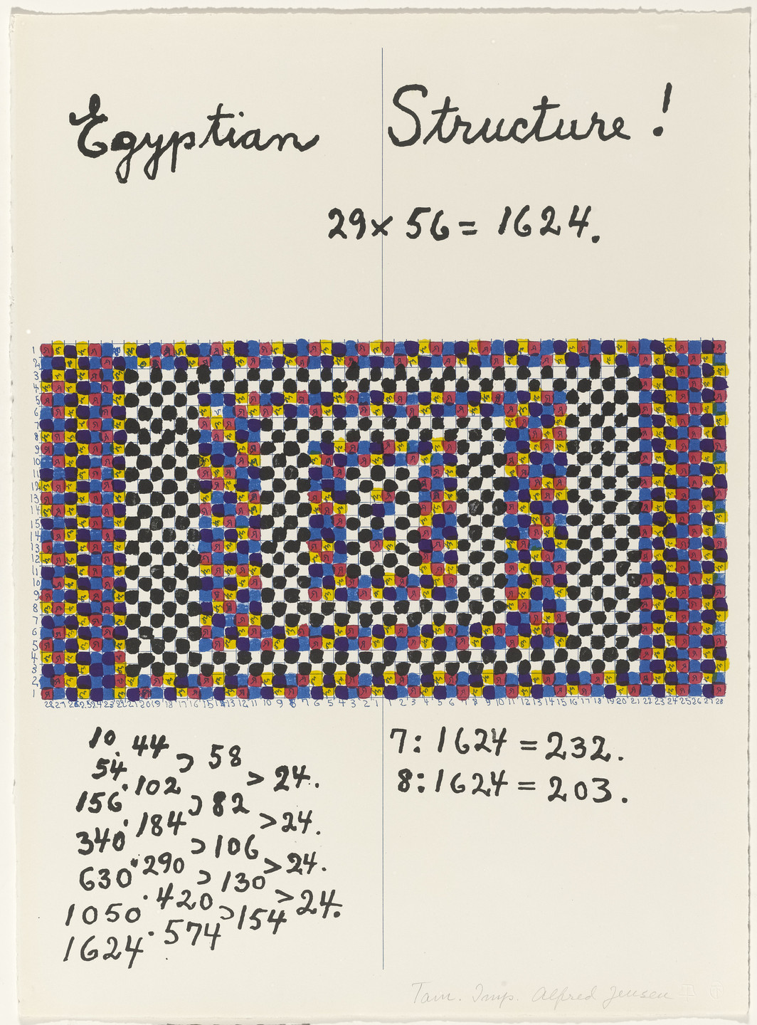 Alfred Jensen. In-text plate (folio 7) from A Pythagorean Notebook. 1965