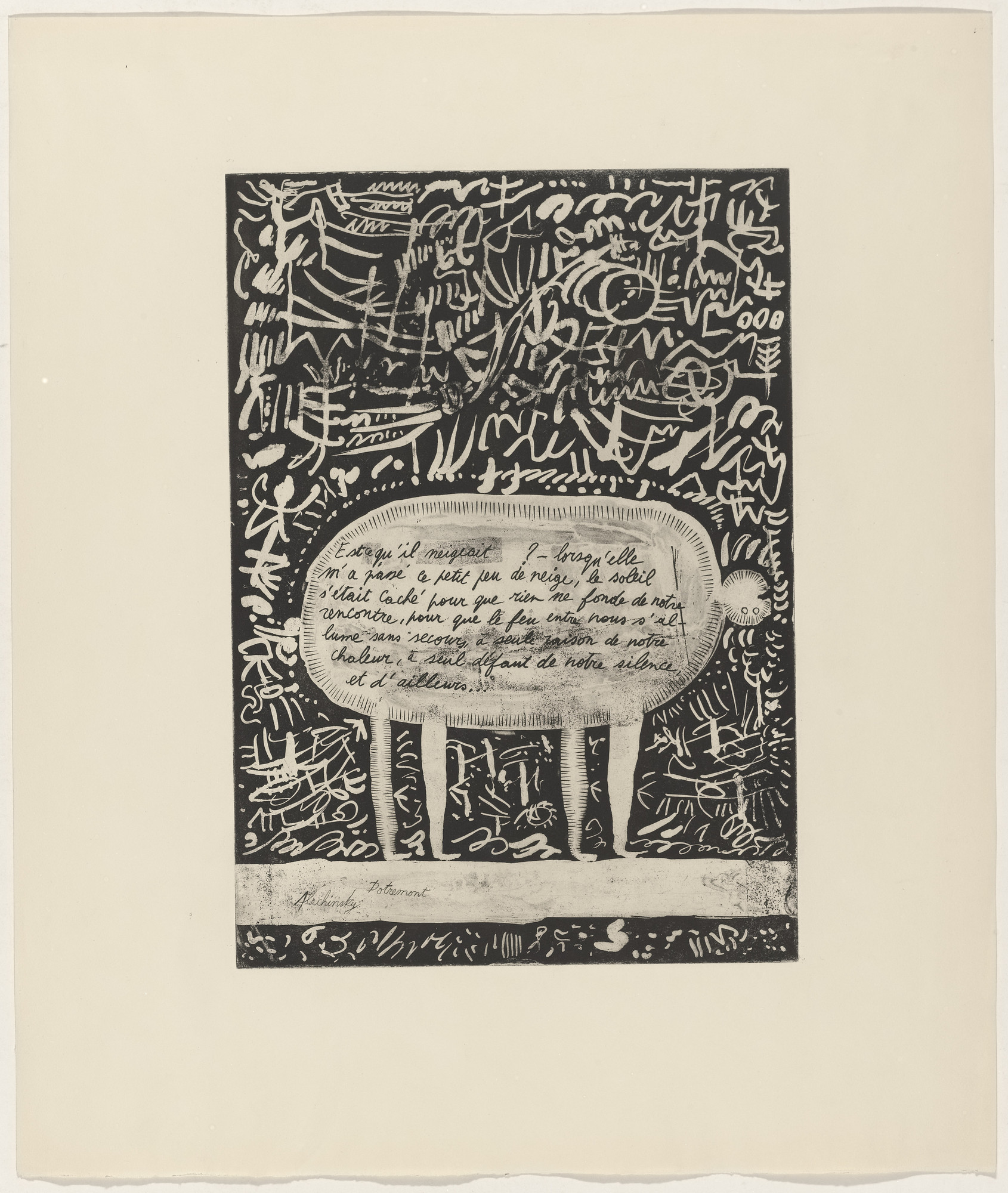 Pierre Alechinsky, Christian Dotremont. In-text plate (folio 4) from 21 Etchings and Poems. 1952, published 1960