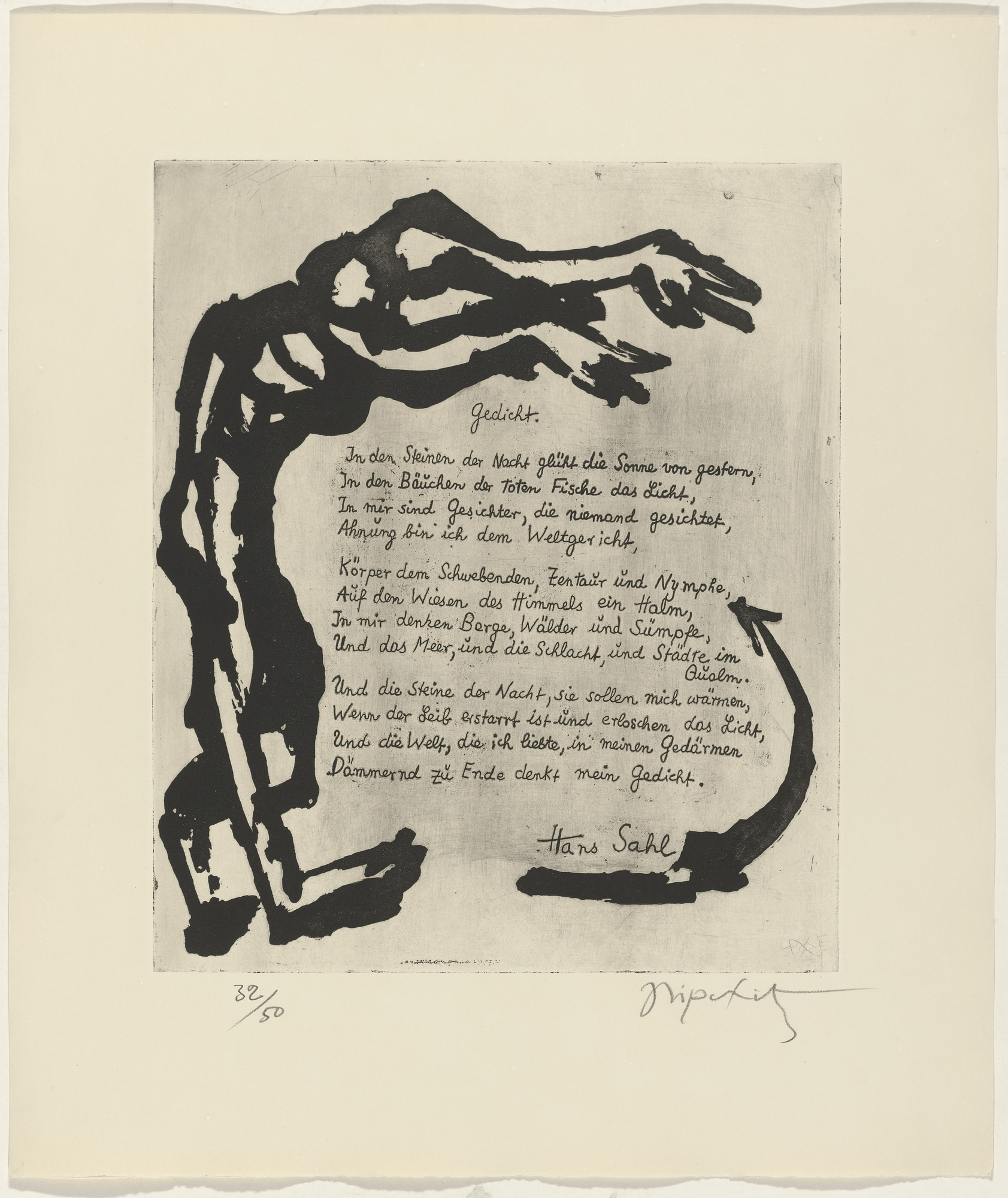 Jacques Lipchitz, Hans Sahl. In-text plate (folio 13) from 21 Etchings and Poems. 1960