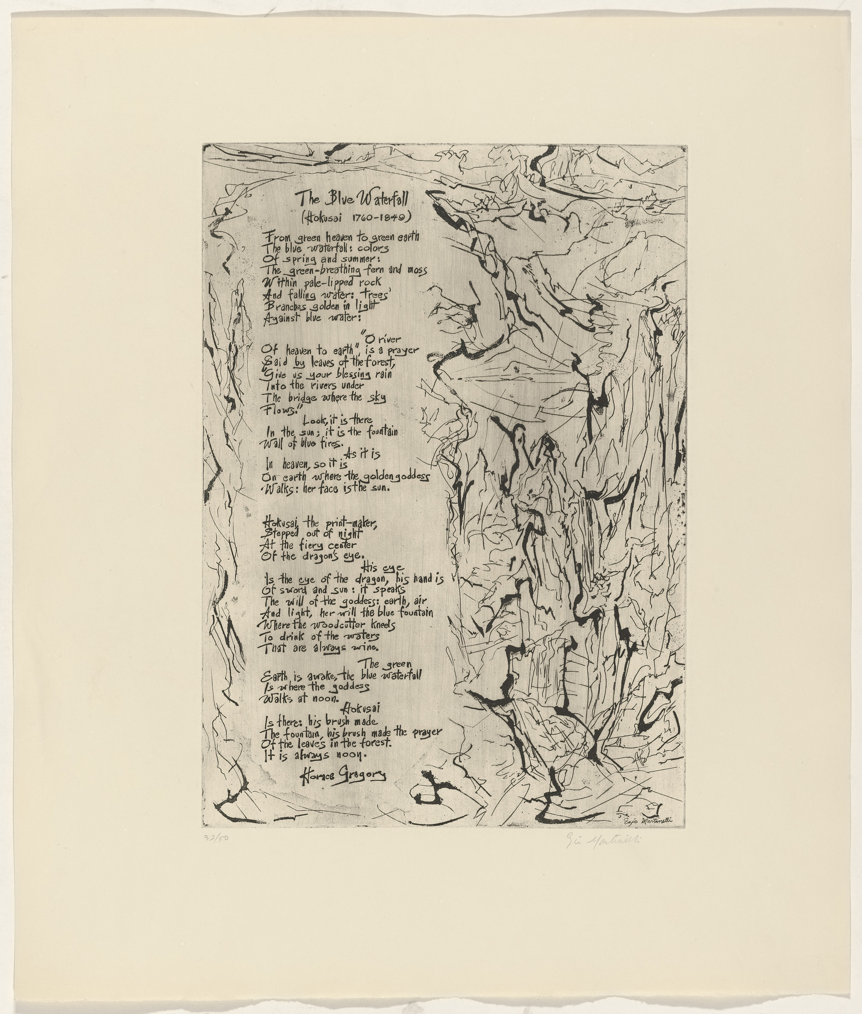 Ezio Martinelli, Horace Gregory. In-text plate (folio 14) from 21 Etchings and Poems. 1960