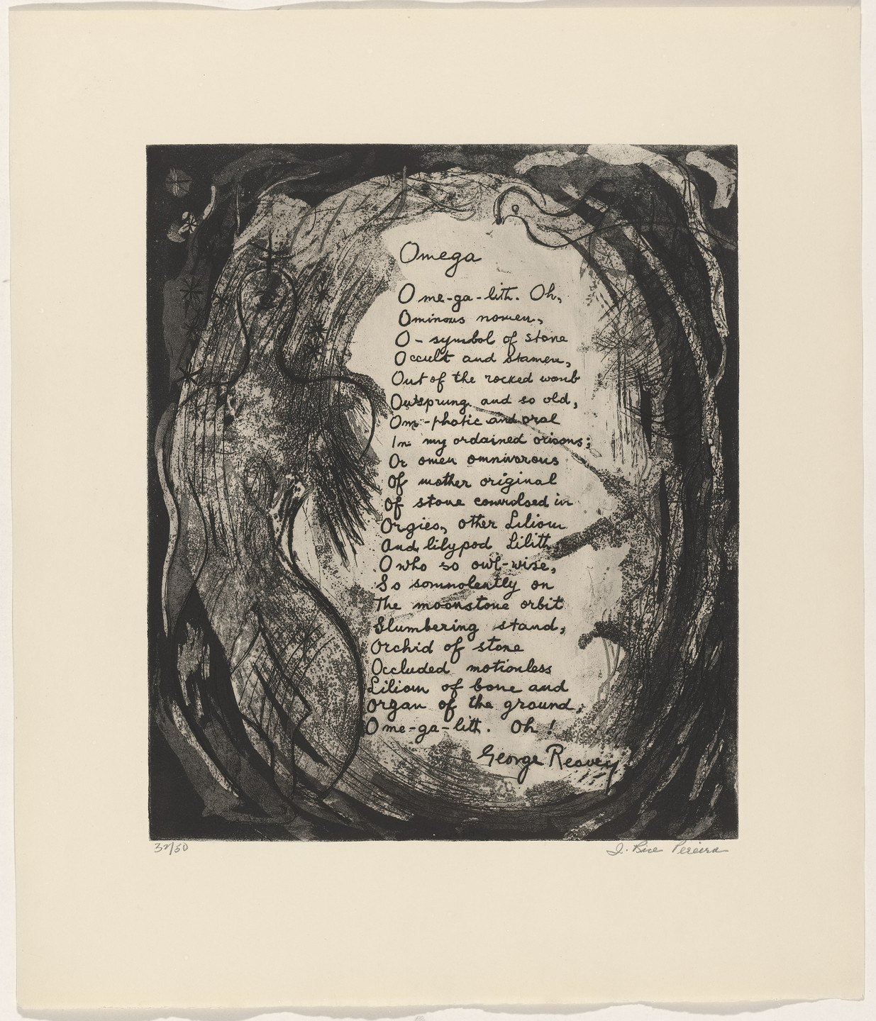 Irene Rice Pereira, George Reavey. In-text plate (folio 16) from 21 Etchings and Poems. 1960