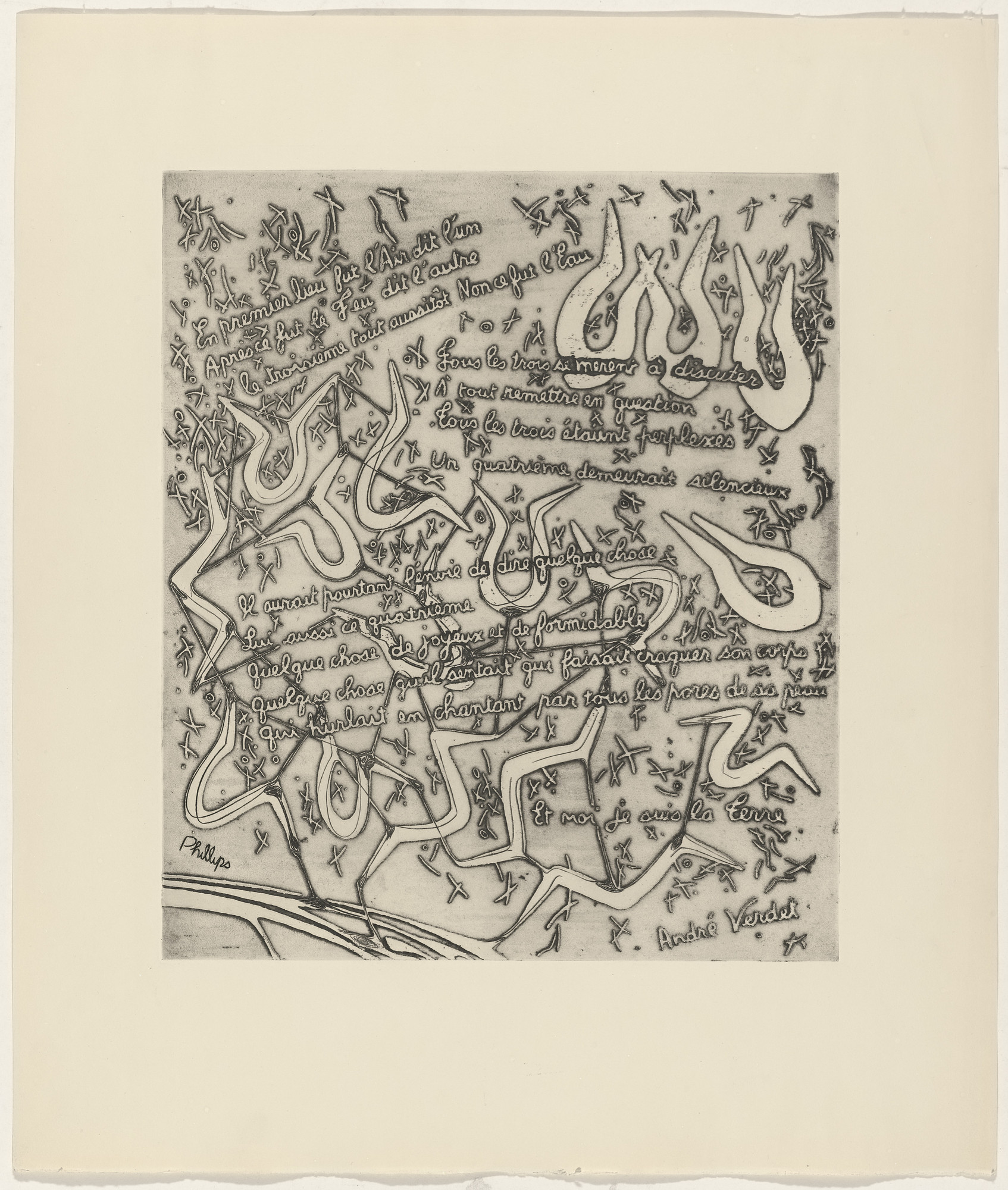 Helen Phillips, André Verdet. In-text plate (folio 17) from 21 Etchings and Poems. 1960