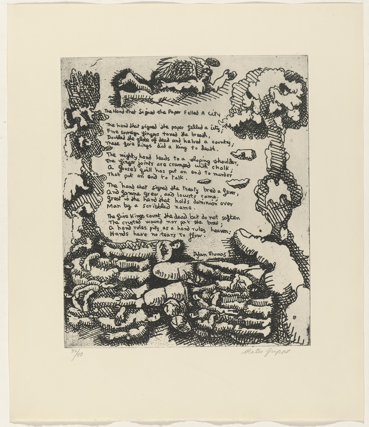 Peter Grippe, Dylan Thomas. In-text plate (folio 9) from 21 Etchings and Poems. 1960