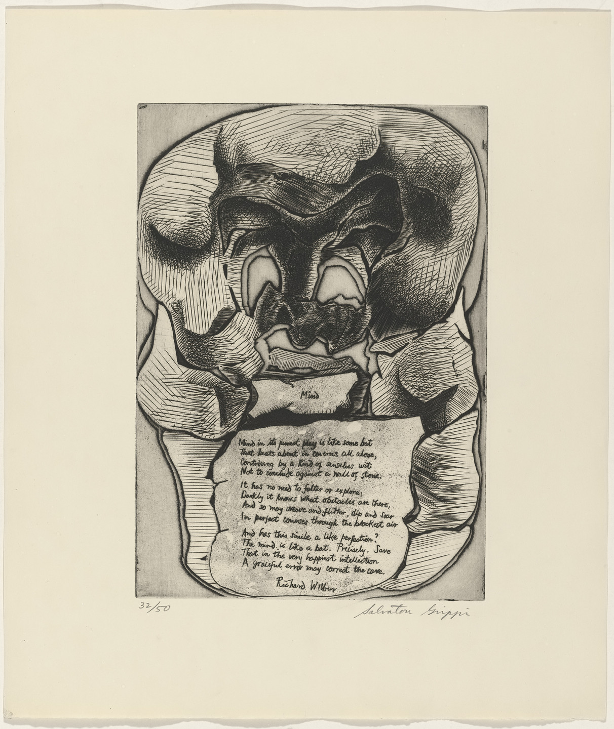 Salvatore Grippi, Richard Wilbur. In-text plate (folio 10) from 21 Etchings and Poems. 1960