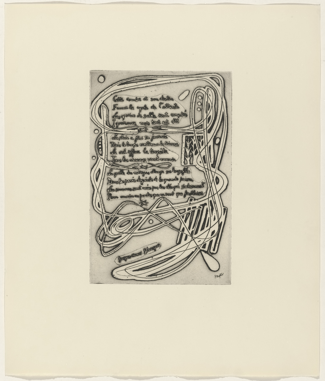 Stanley William Hayter, Jacques-Henri Lévesque. In-text plate (folio 11) from 21 Etchings and Poems. c. 1950s, published 1960