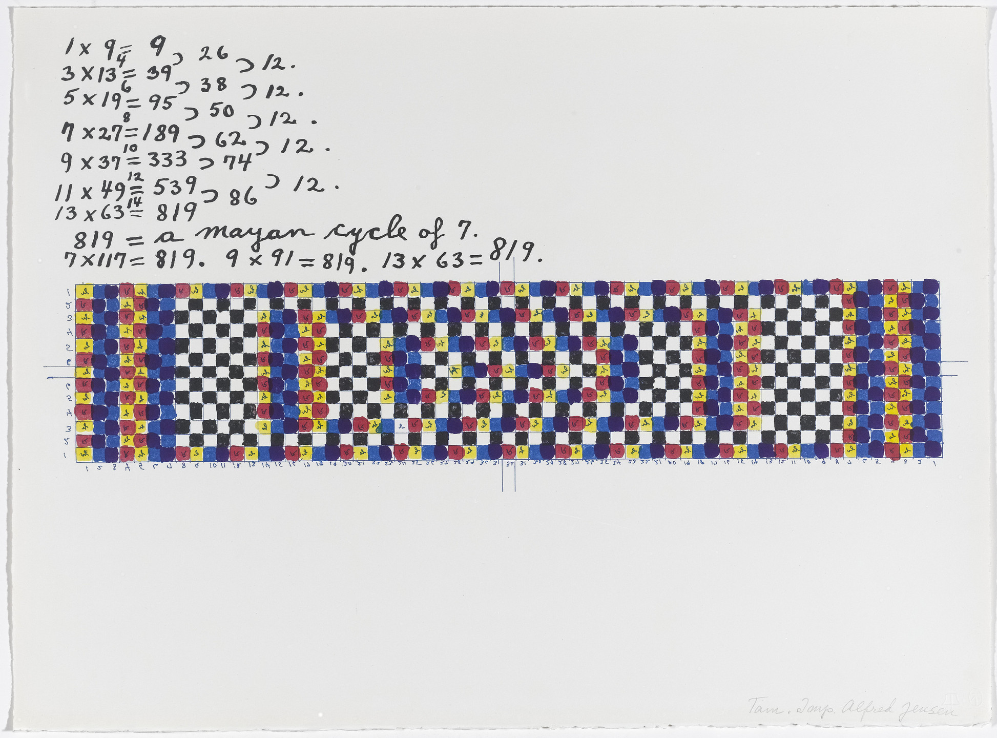Alfred Jensen. In-text plate (folio 6) from A Pythagorean Notebook. 1965