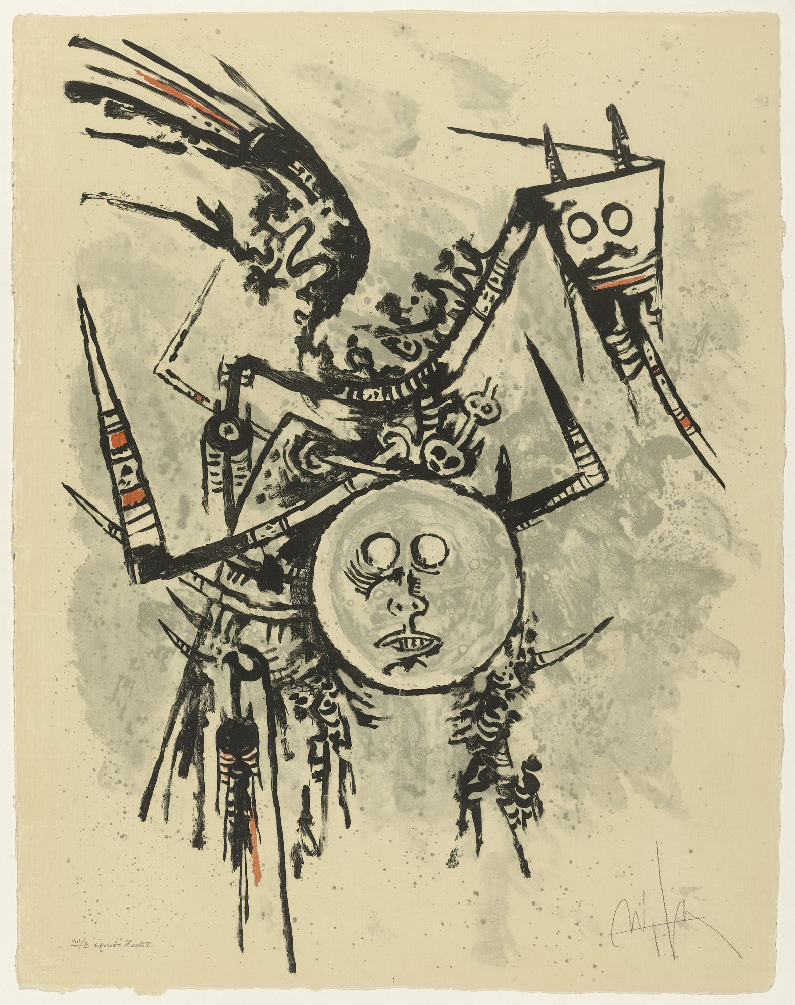 Wifredo Lam. Untitled from Flight. 1969, published 1971