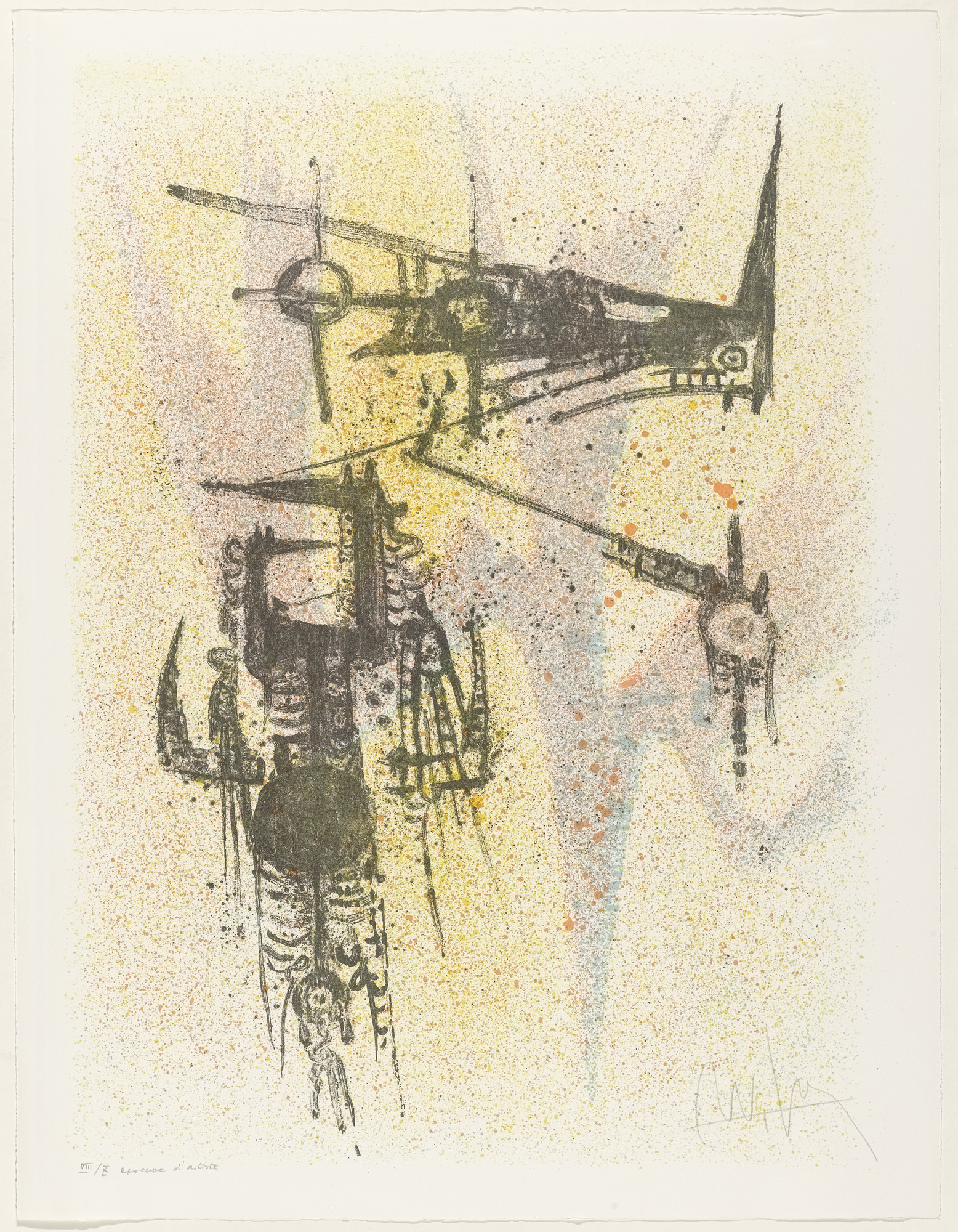 Wifredo Lam. Untitled from Flight. 1967, published 1971