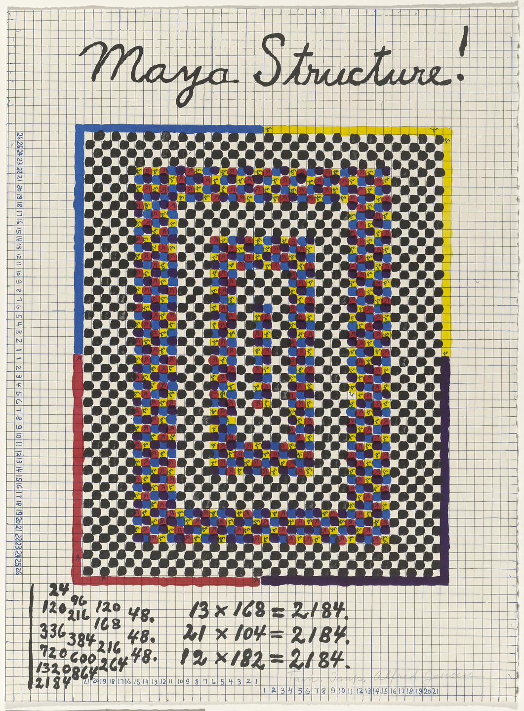 Alfred Jensen. In-text plate (folio 10) from A Pythagorean Notebook. 1965
