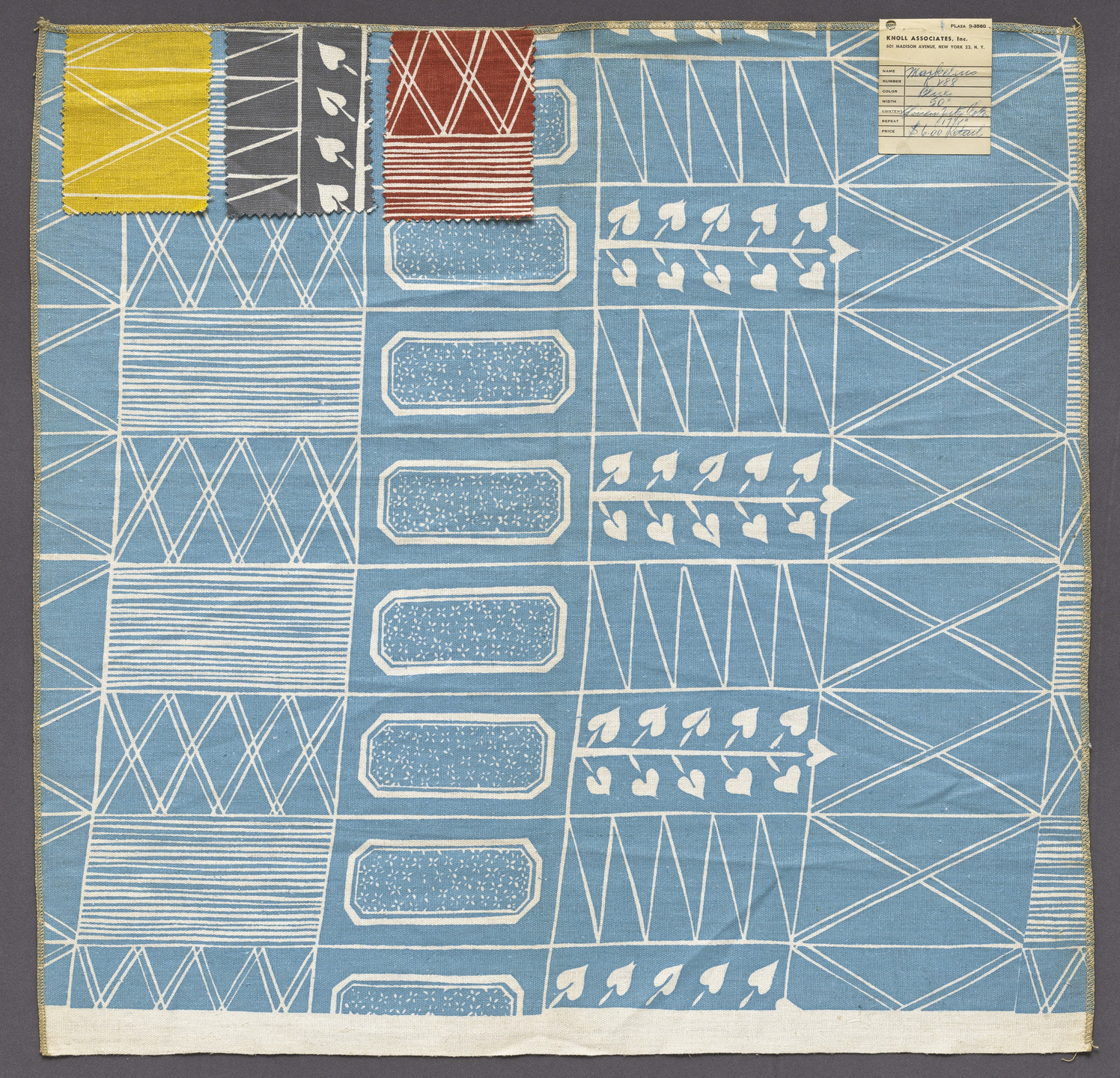 Sven Markelius. Markelius fabric sample (model K288). 1948-1950