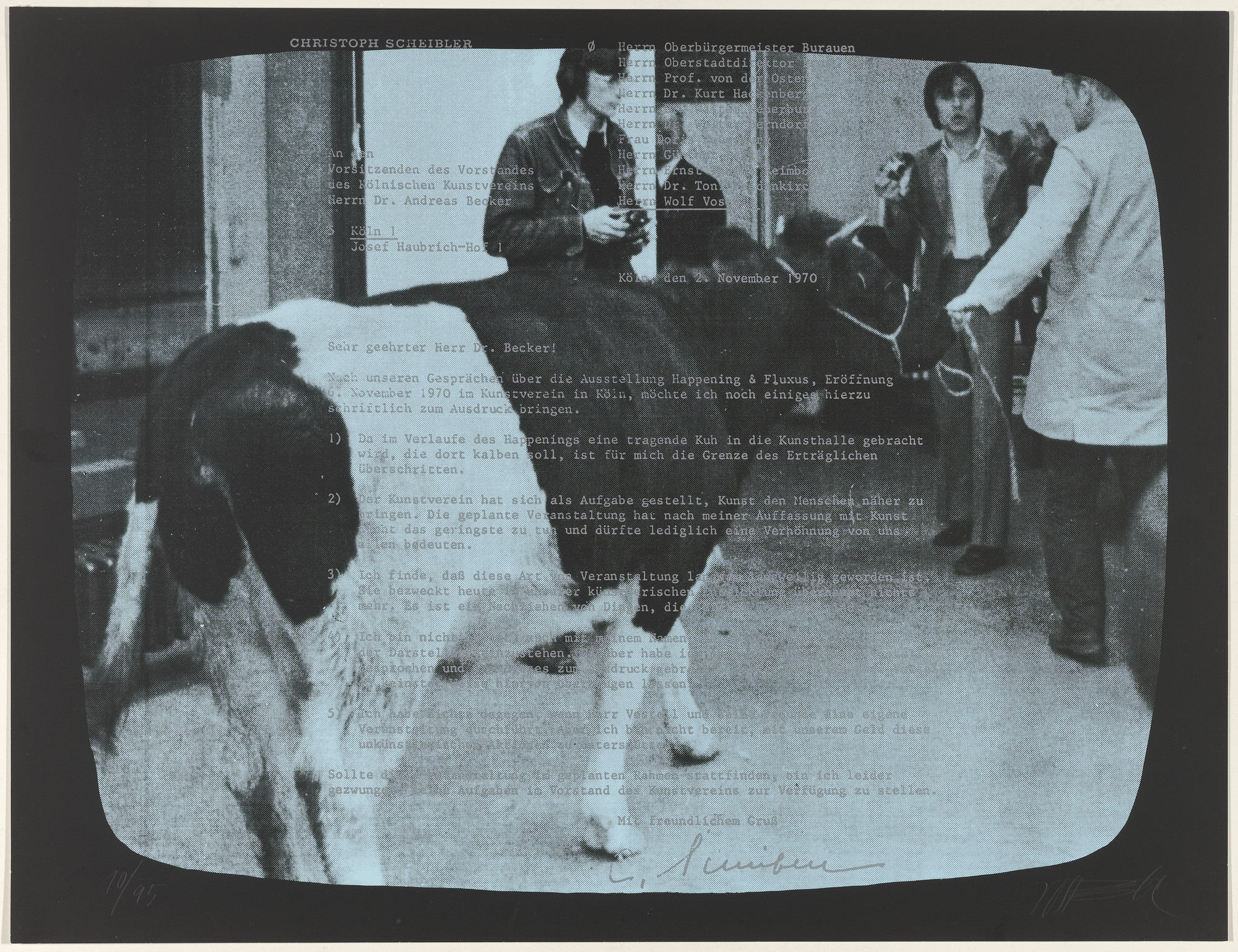 Wolf Vostell. TV-Oxen II (TV-Ochsen II) from Weekend. 1971, published 1972