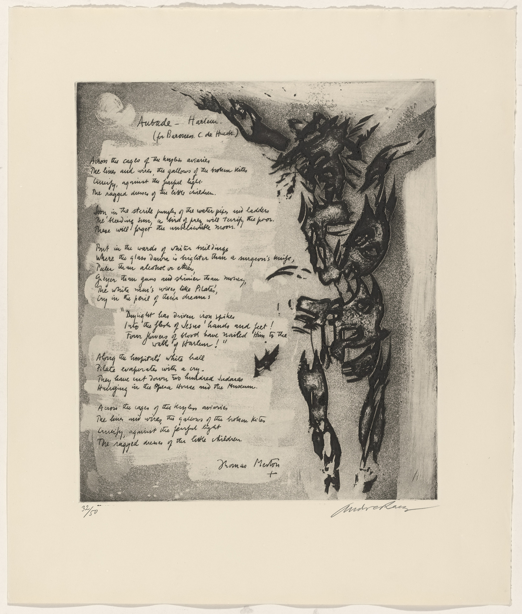 André Racz, Thomas Merton. In-text plate (folio 18) from 21 Etchings and Poems. 1960